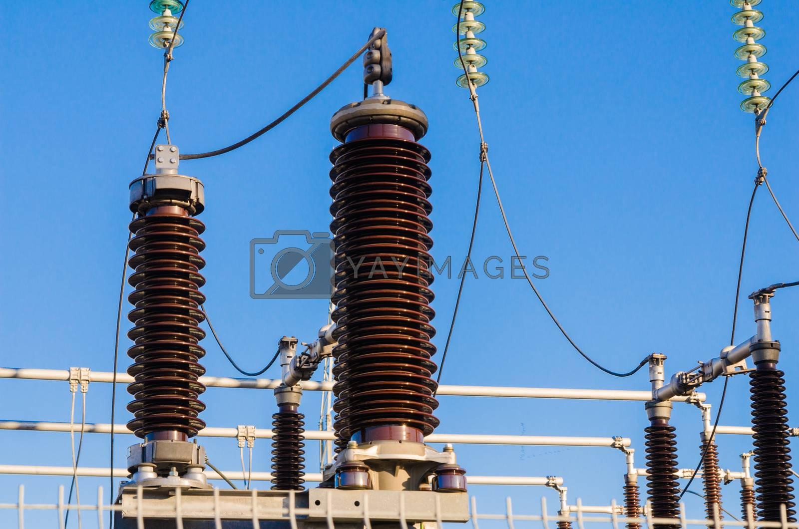 High-voltage insulators on transformer substation