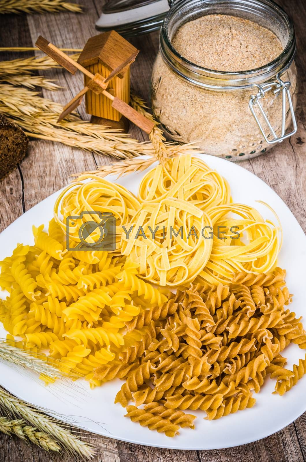 Variety of pasta, flour and rye cones