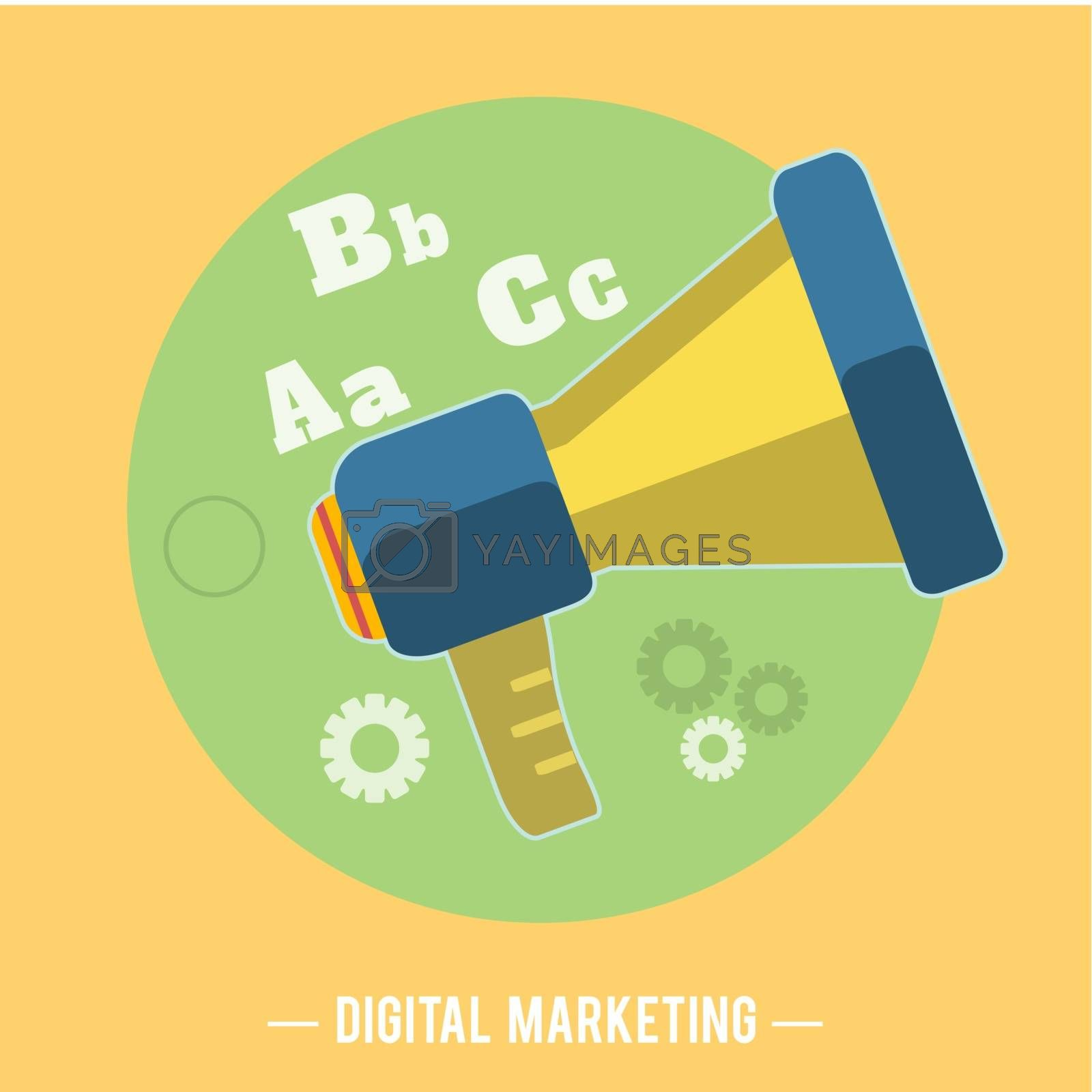 Hand holding a yellow megaphone. Digital marketing concept. Flat design stylish megaphone with application icons