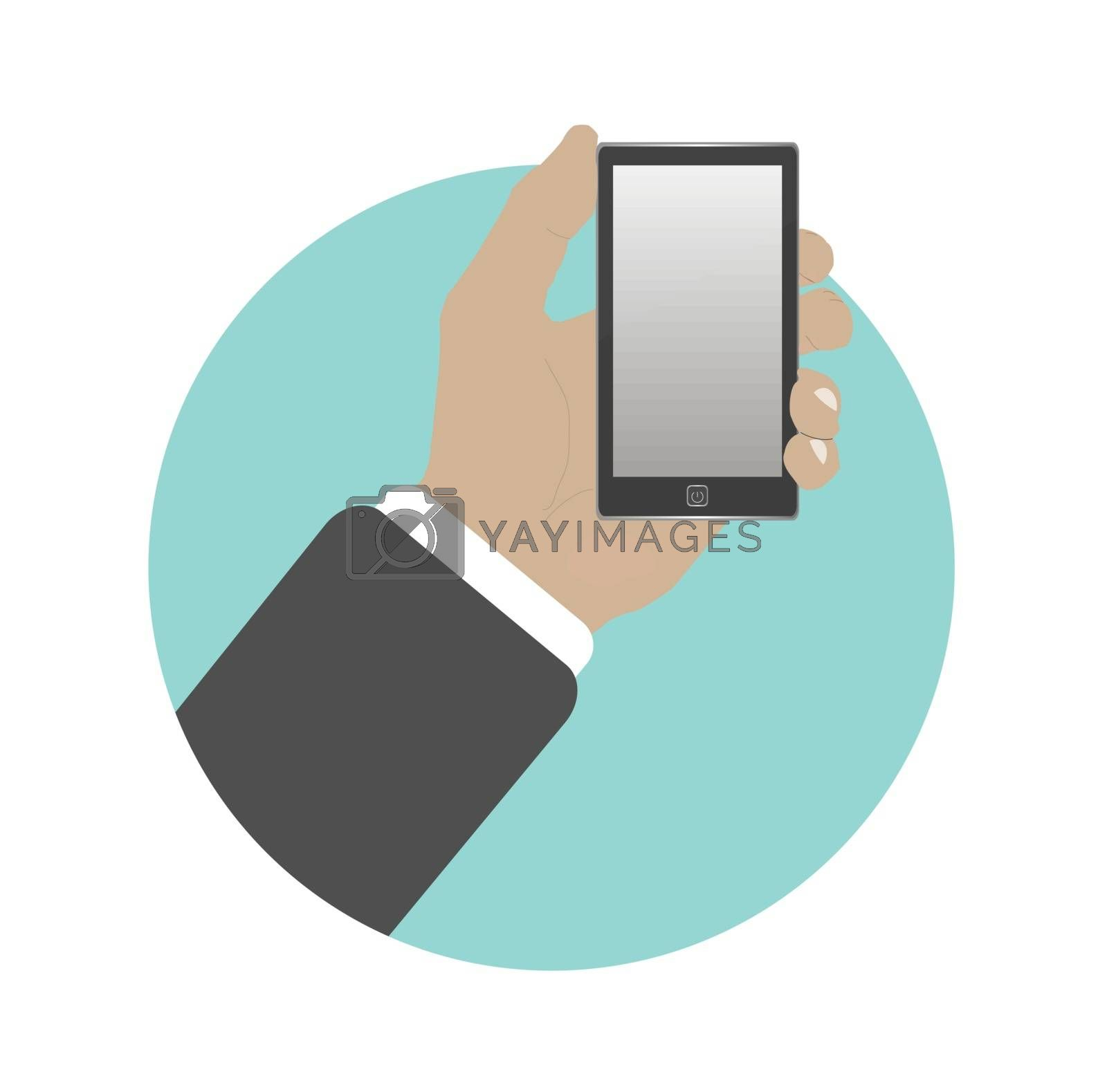 Hand with phone in flat design