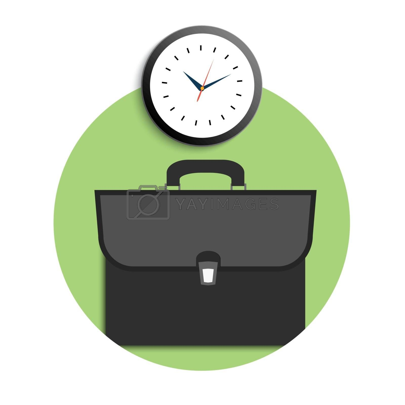 Briefcase and clock icons. Business concept for office workers. Time to come to work