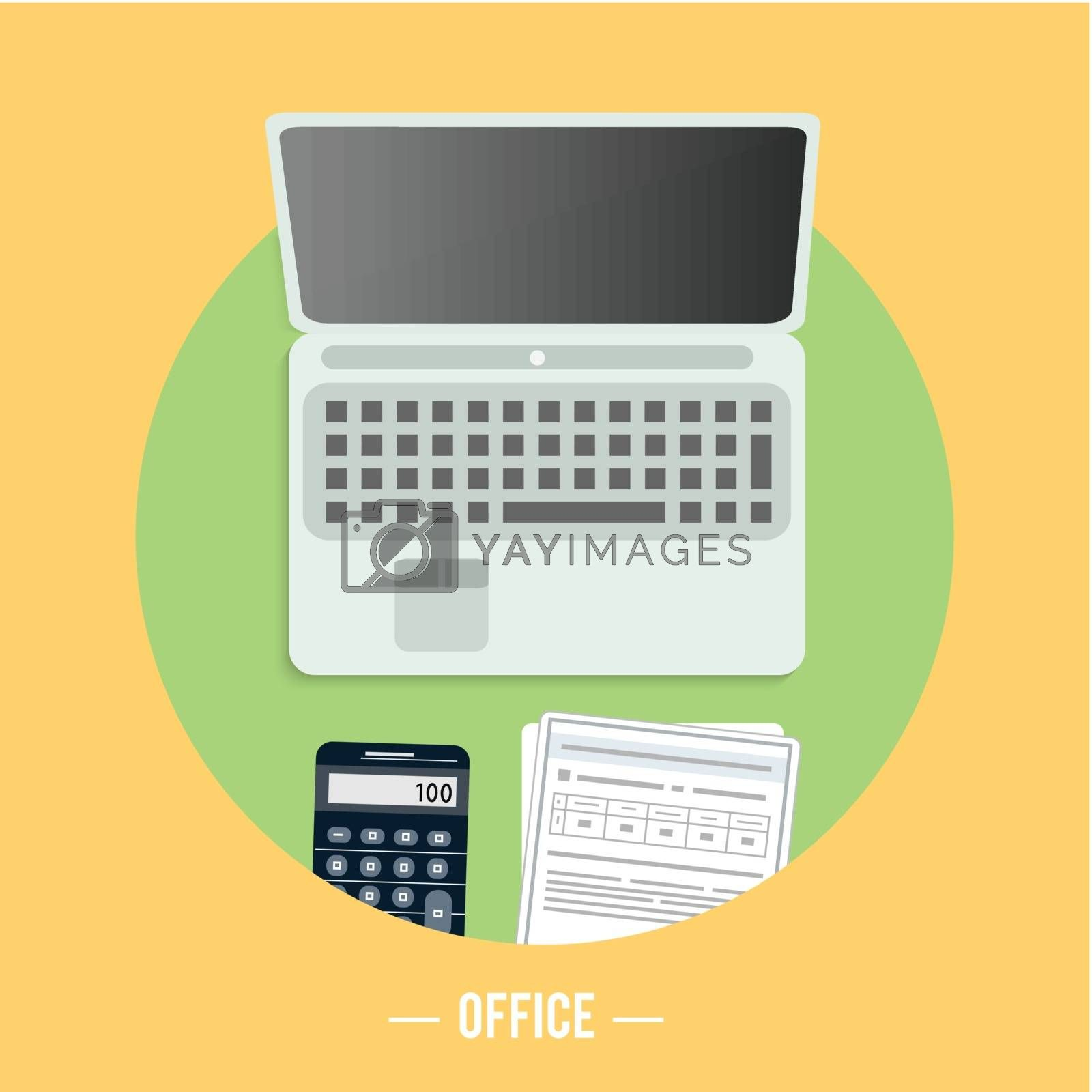 Business, office and marketing items icons concept on table.