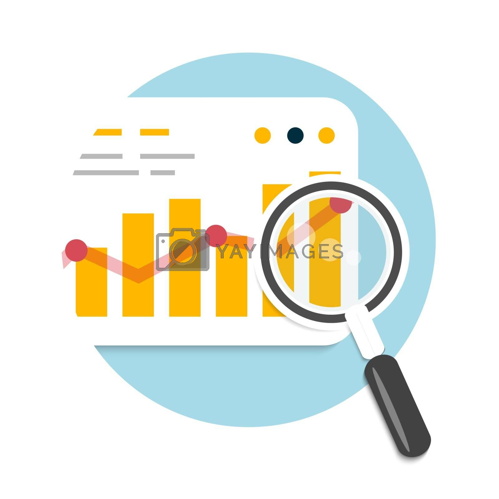 Magnifying glass and chart. Business concept of analyzing