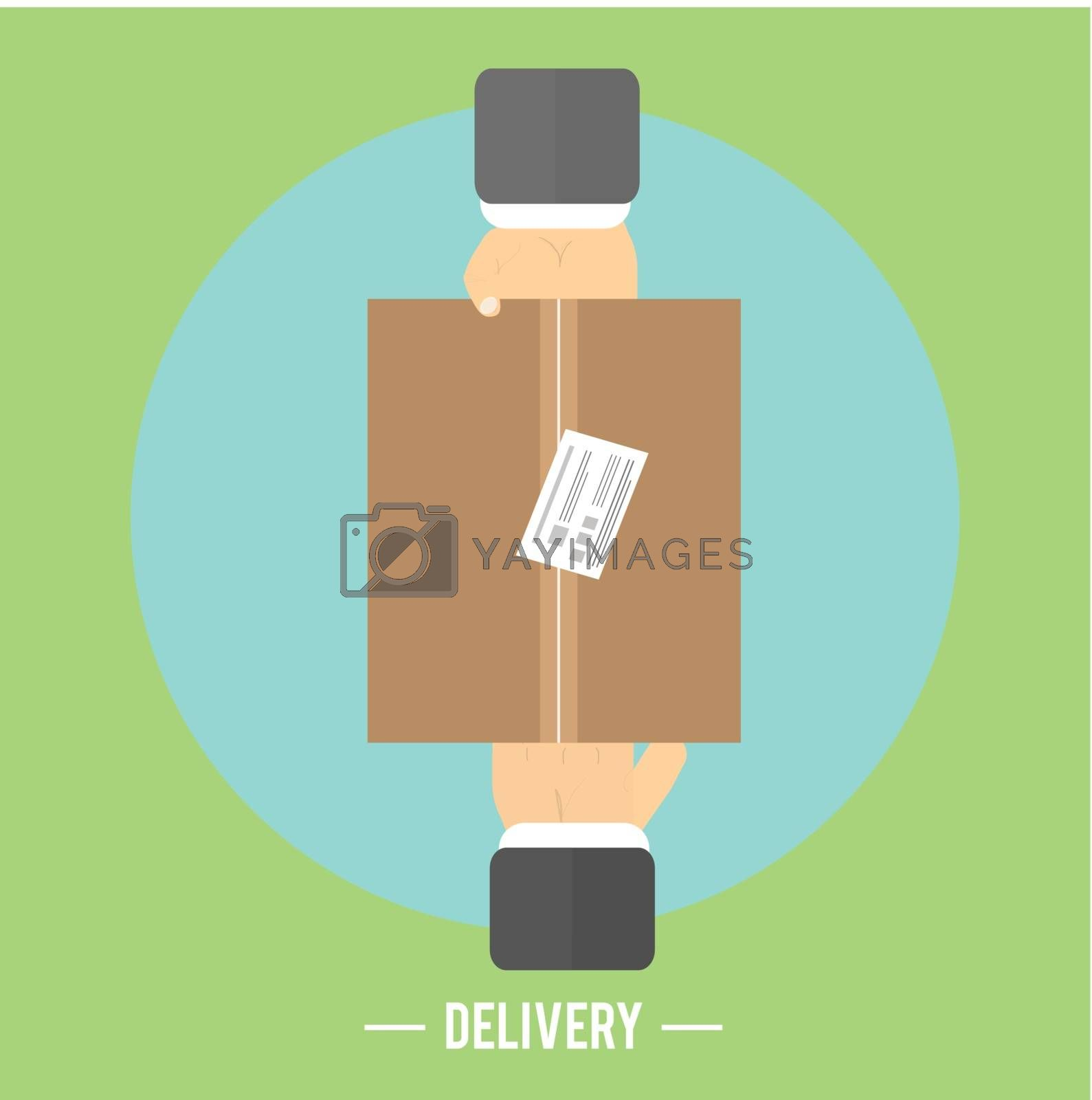 Delivery box and two hands. Delivery service 24 hours. Cargo truck symbol