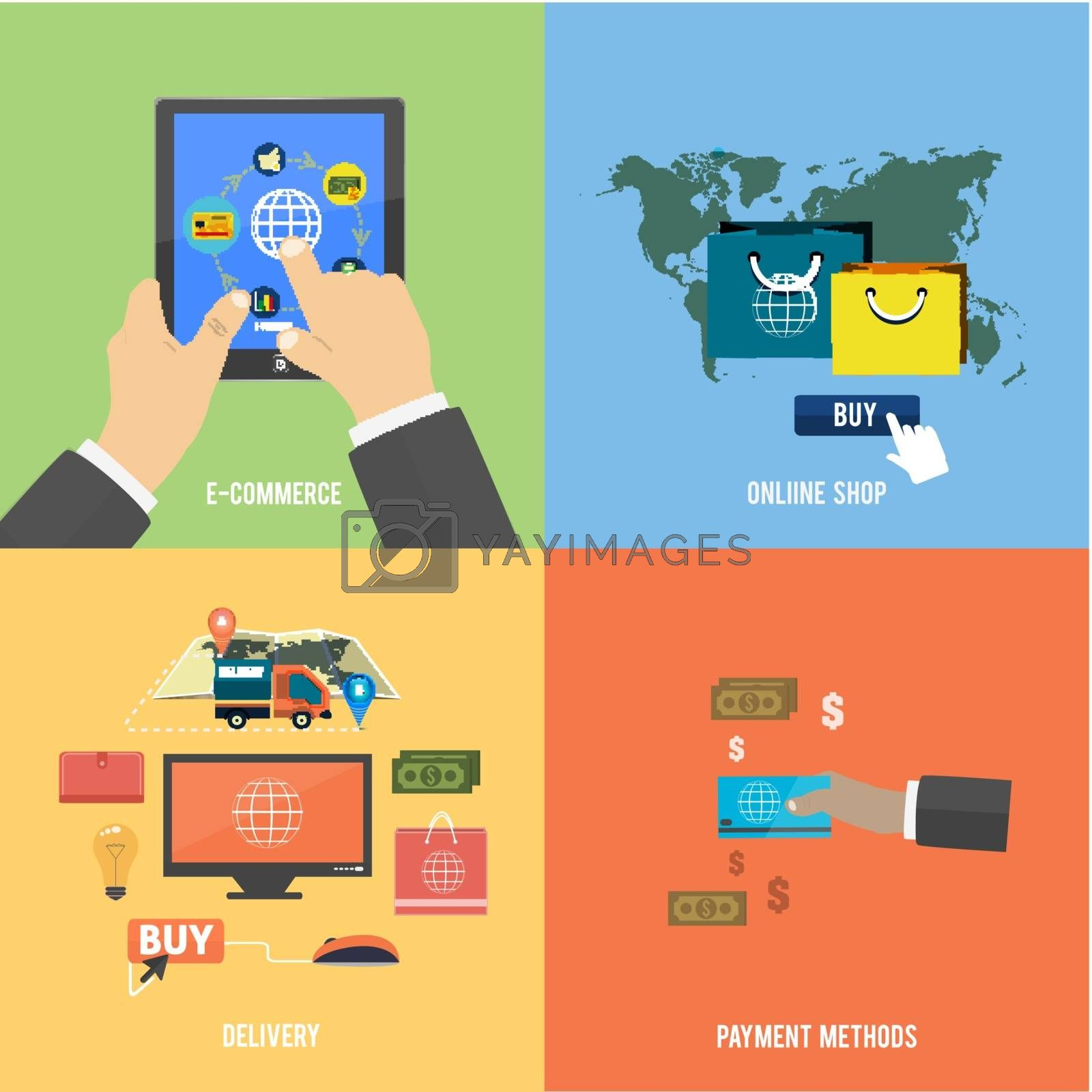 Icons for e-commerce, delivery, online shopping, payment methods, business tools