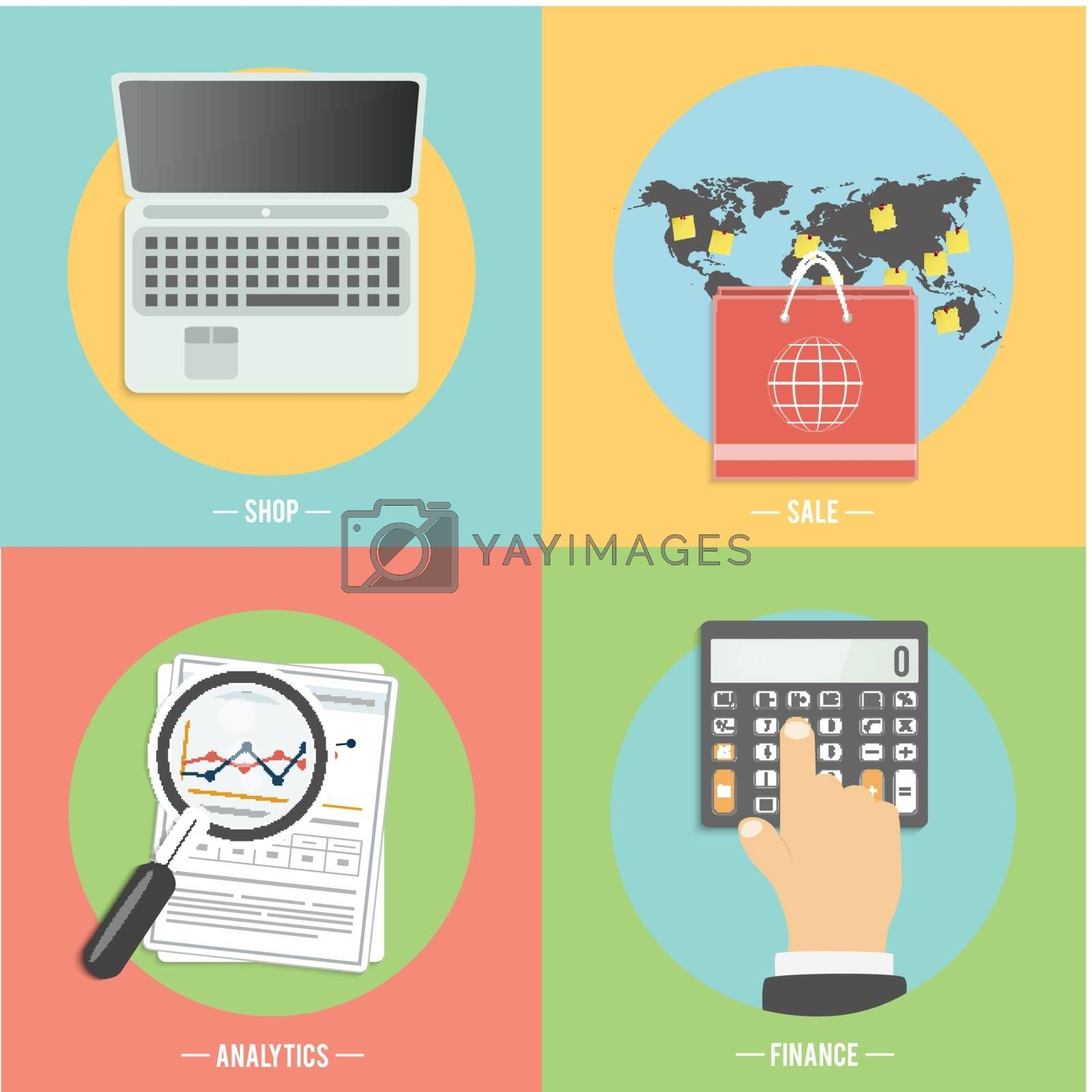 Icons for e-commerce, online shopping, shop, sale, finance, analytics, business tools