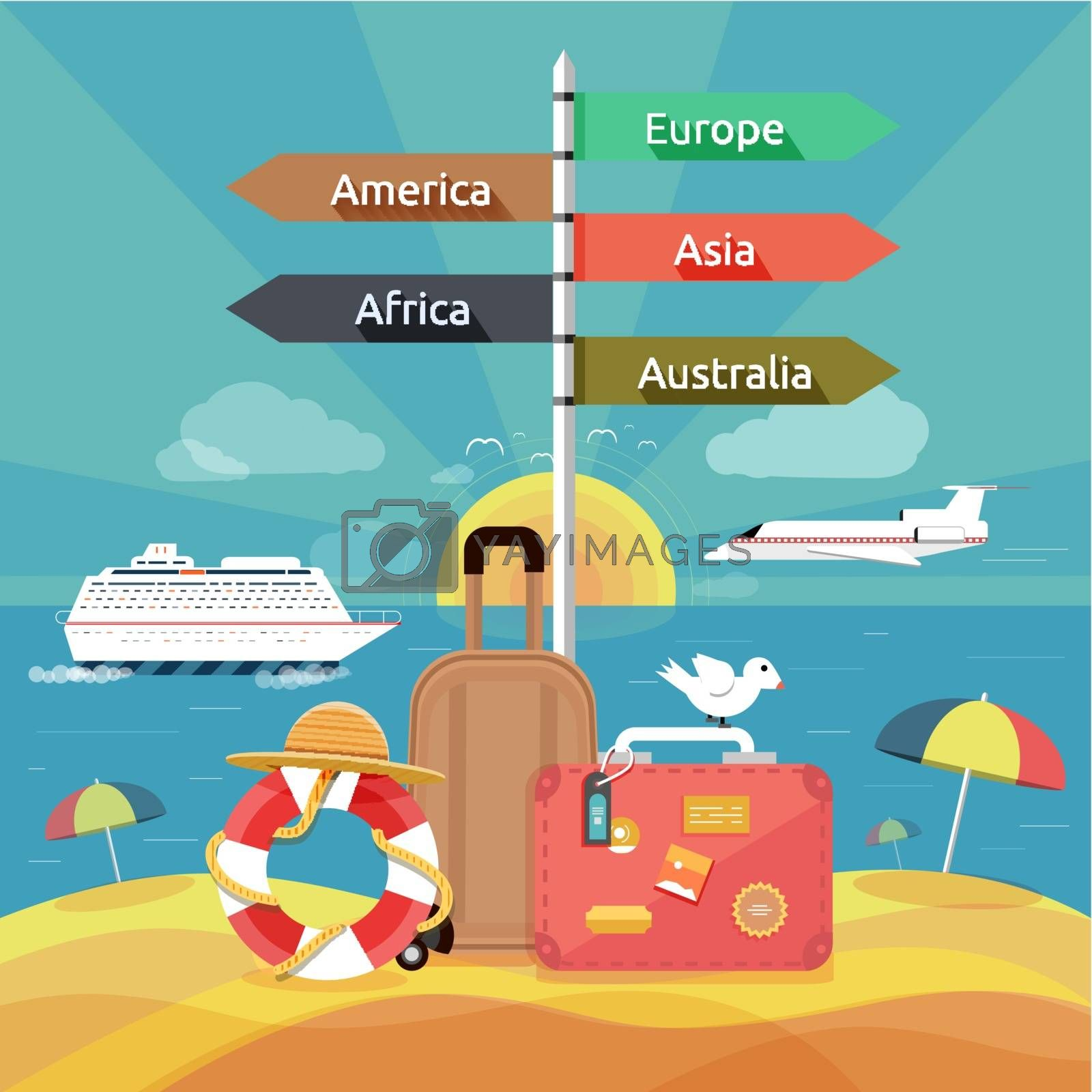 Icons set of traveling, planning a summer vacation, tourism and journey objects and passenger luggage in flat design. Different types of travel. Business travel concept