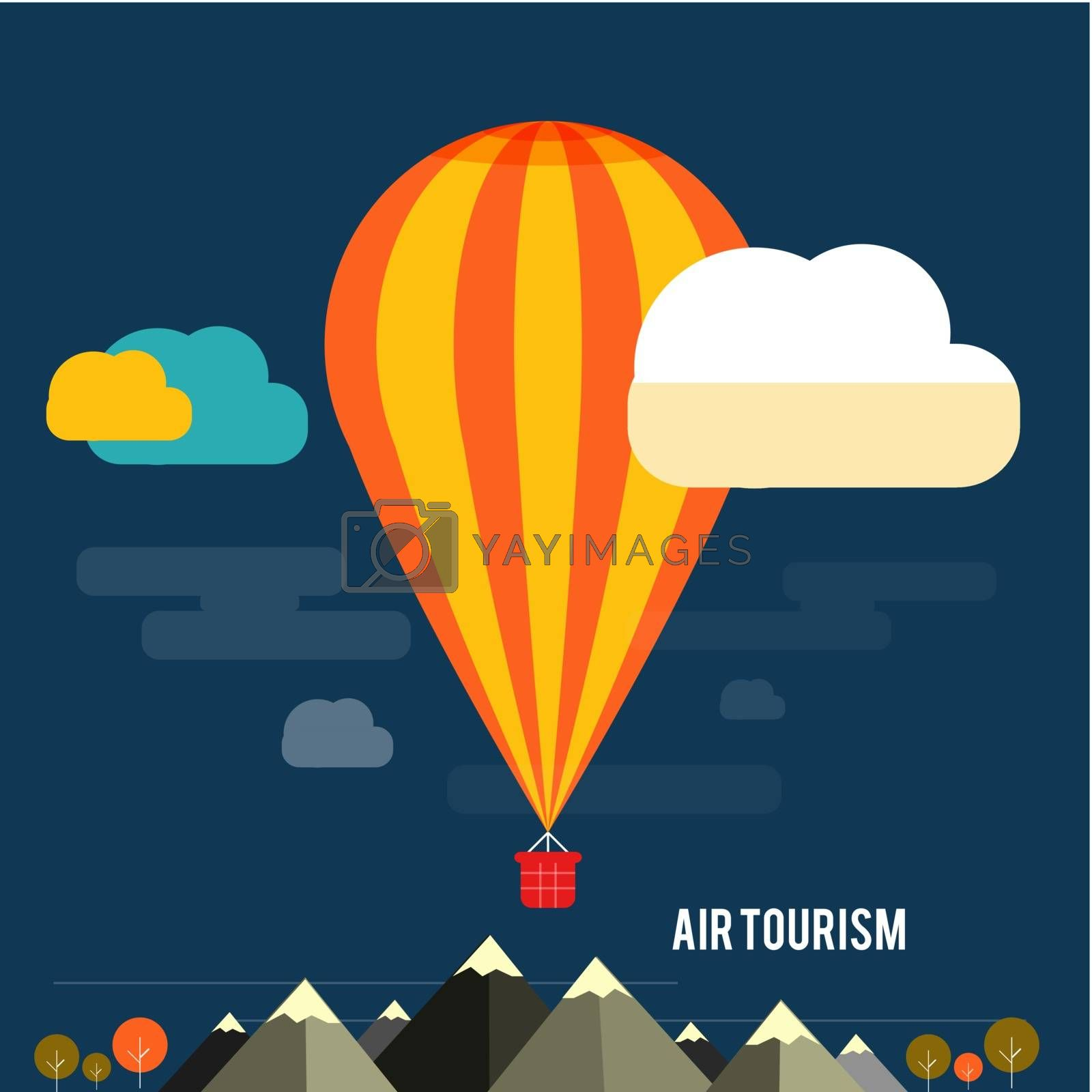 Hot air balloon flying over the mountain by robuart