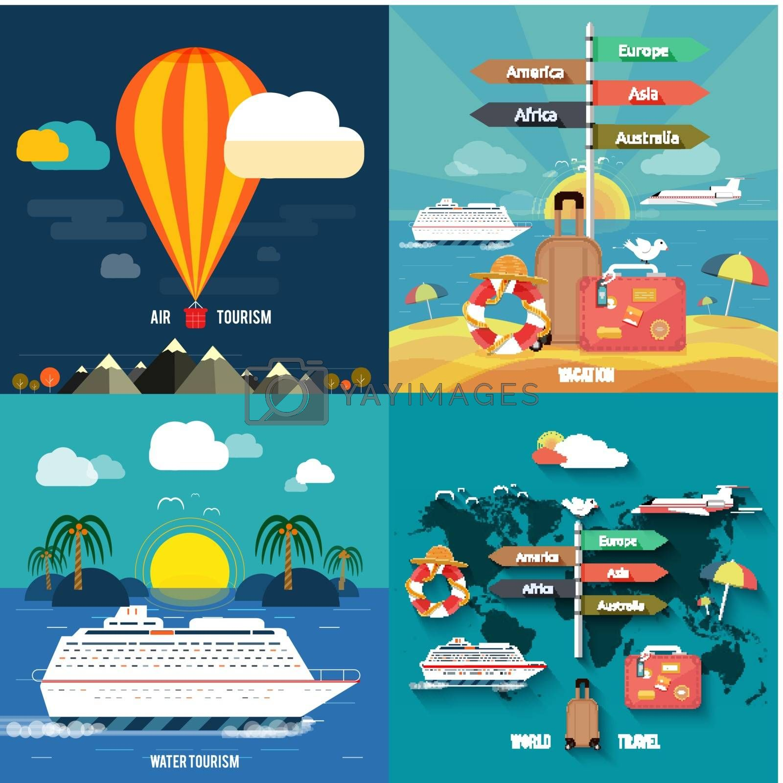 Icons set of traveling and planning a summer vacation by robuart