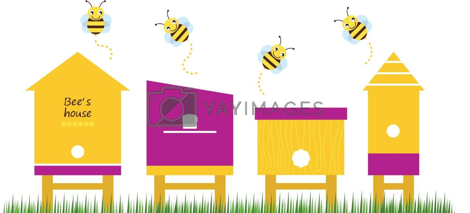 Cute simple Bee houses with bees. Vector Illustration