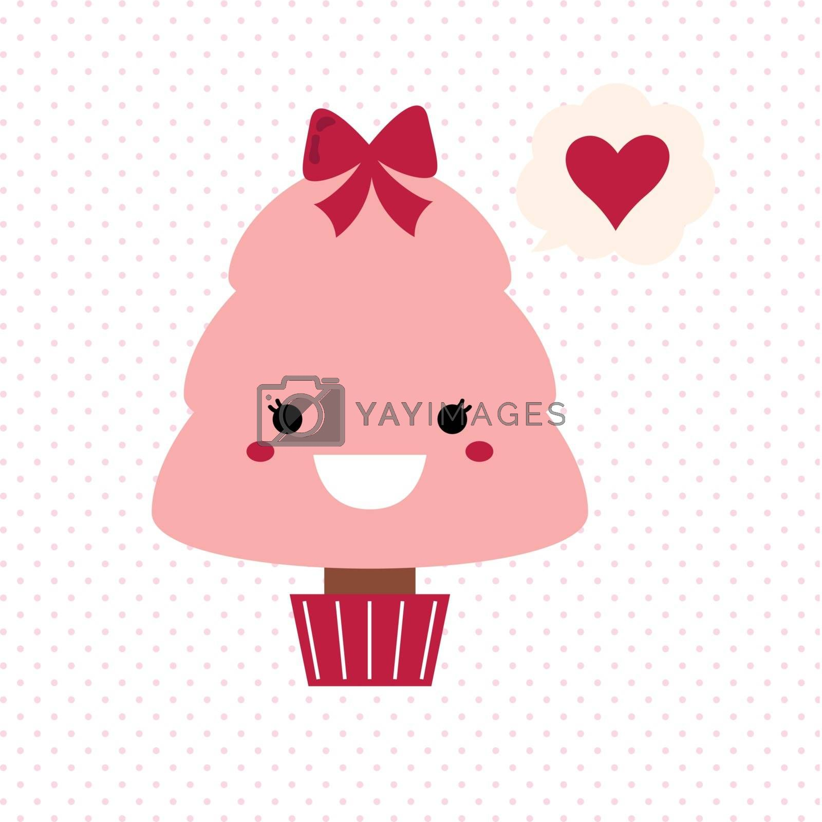 Stylized love kawaii tree - pink and red. Vector Illustration