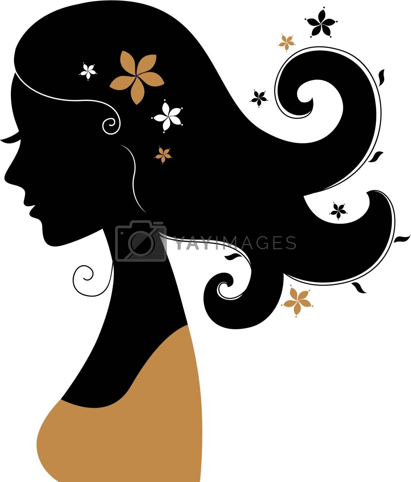 Vintage woman silhouette. Vector Illustration