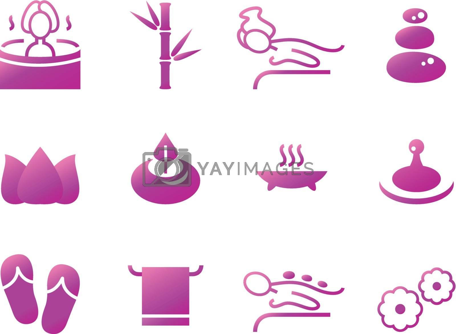 Set of beautiful wellness, spa, sauna and massage vector icons.