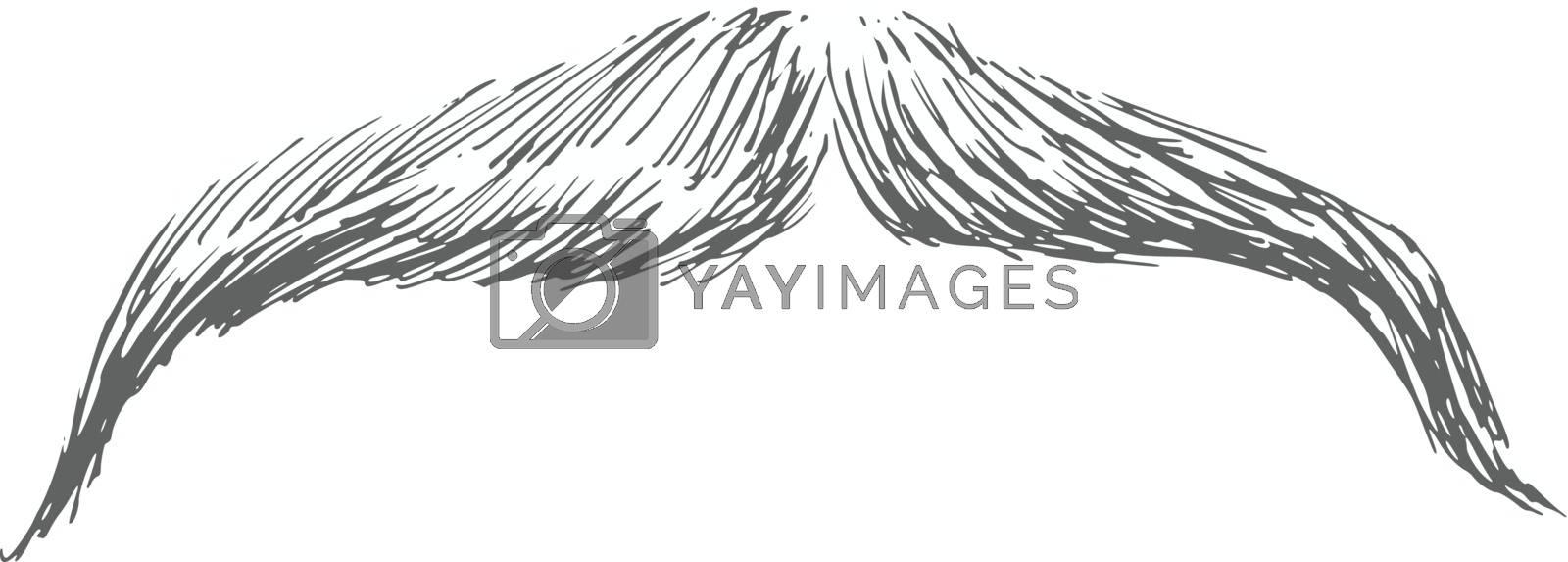 hand drawn, sketch, cartoon illustration of moustache