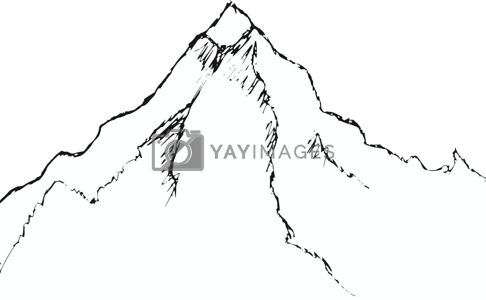 hand drawn, cartoon, sketch illustration of mountain