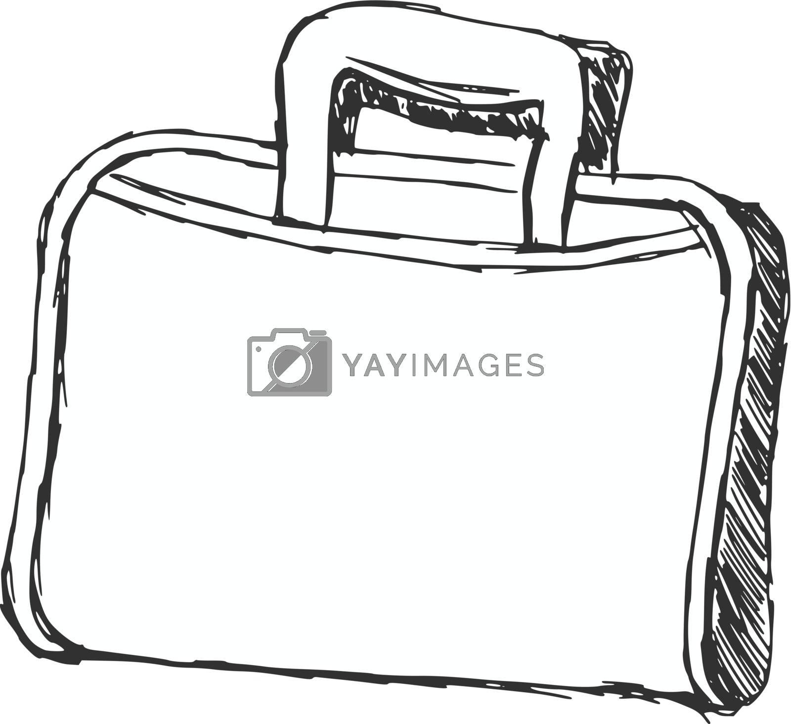 hand drawn, cartoon, sketch illustration of briefcase