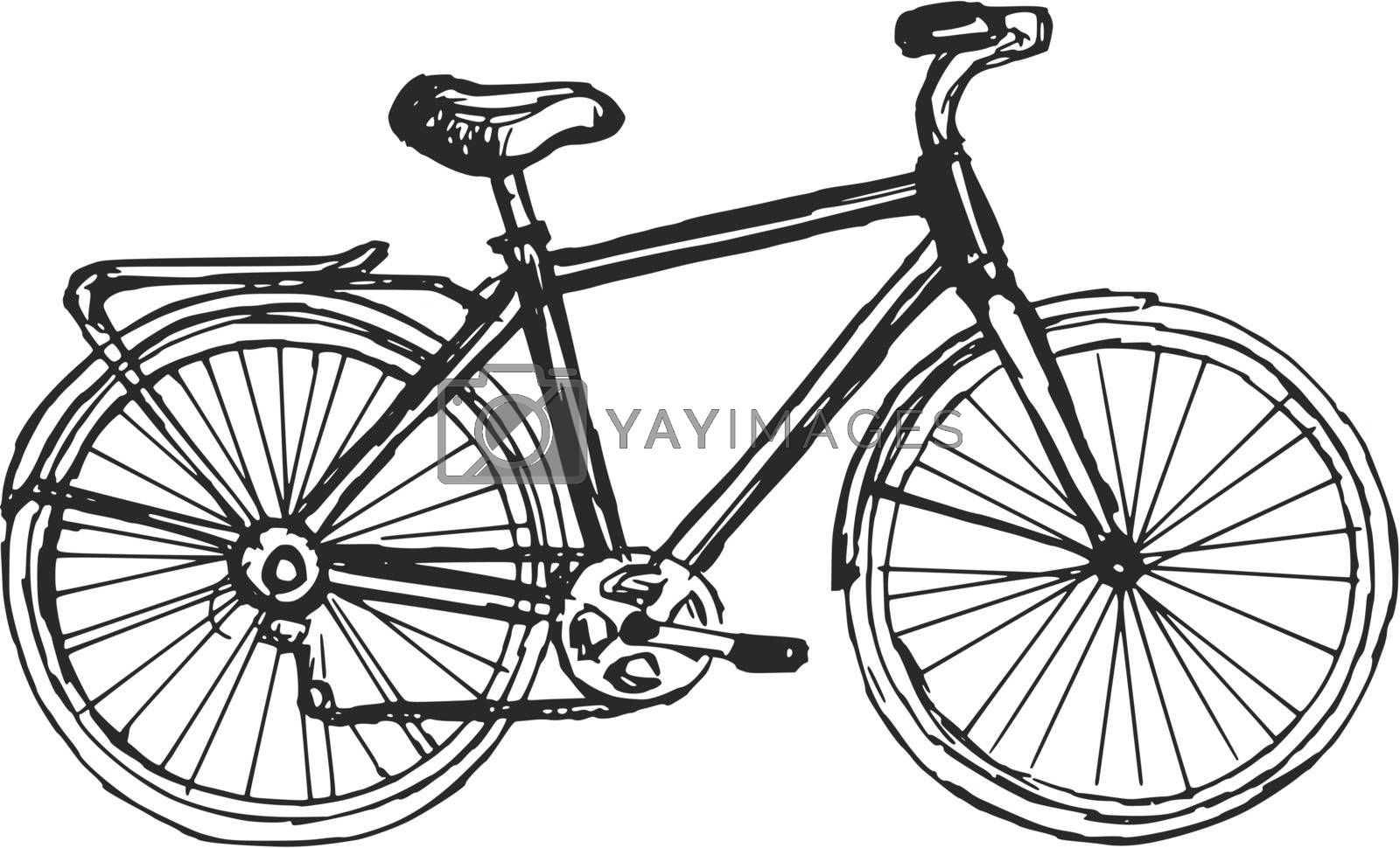 hand drawn, sketch, cartoon illustration of bicycle
