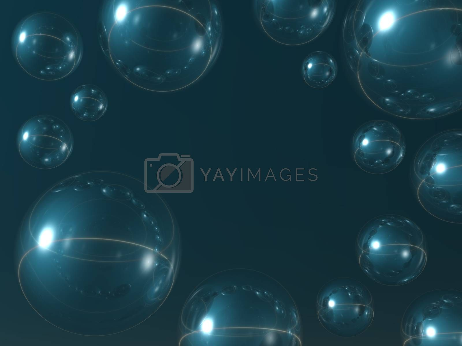 bubbles on blue background - abstract 3d illustration