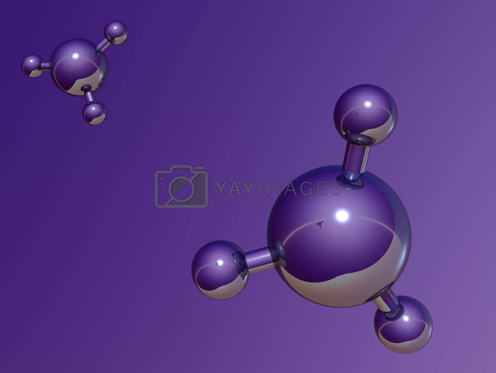 molecule model on purple background - 3d illustration