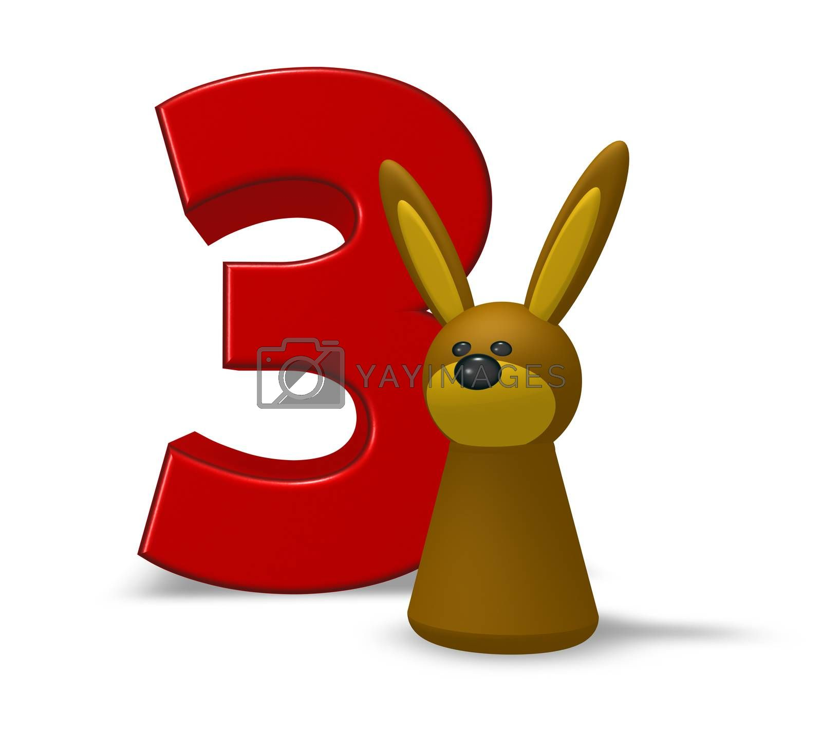 number three and rabbit - 3d illustration