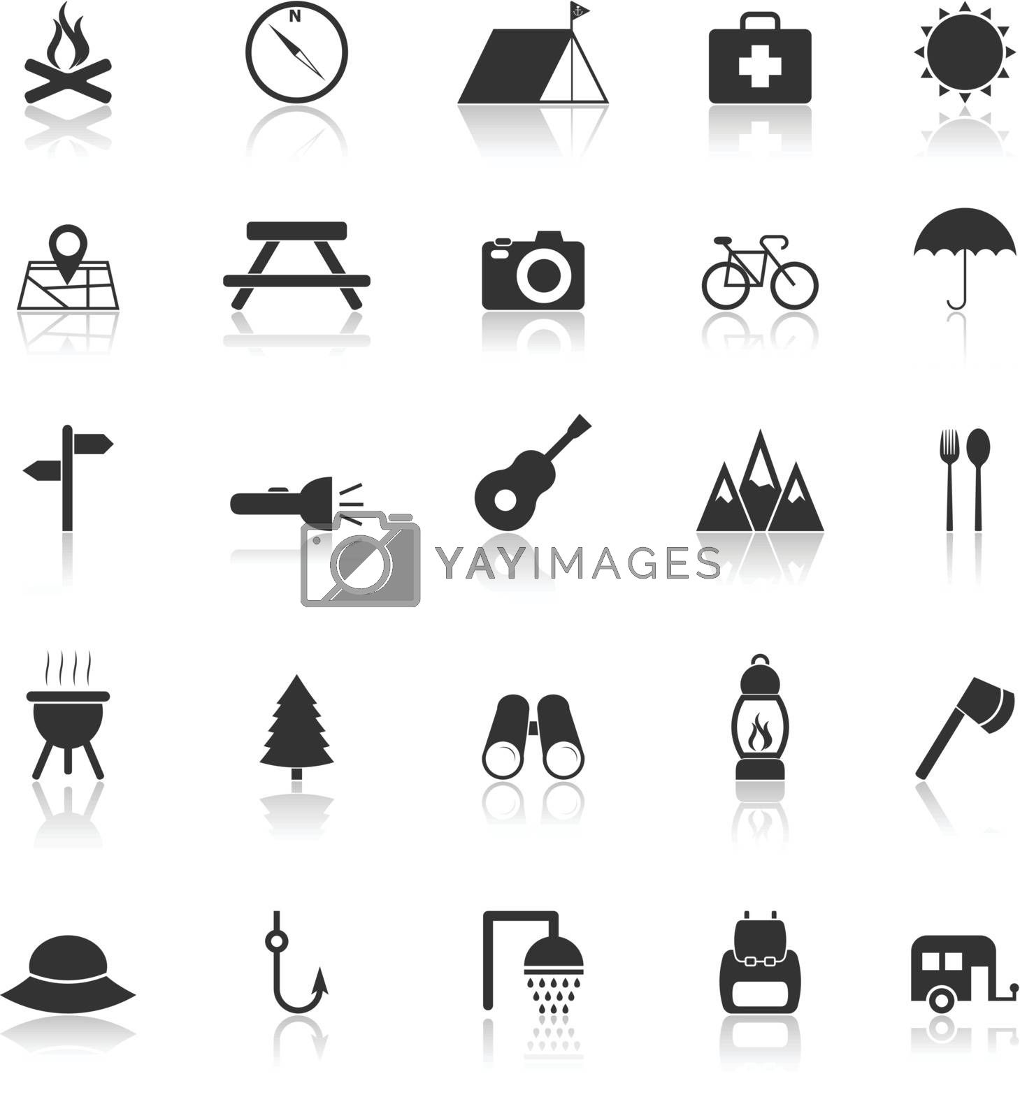Camping icons with reflect on white background, stock vector