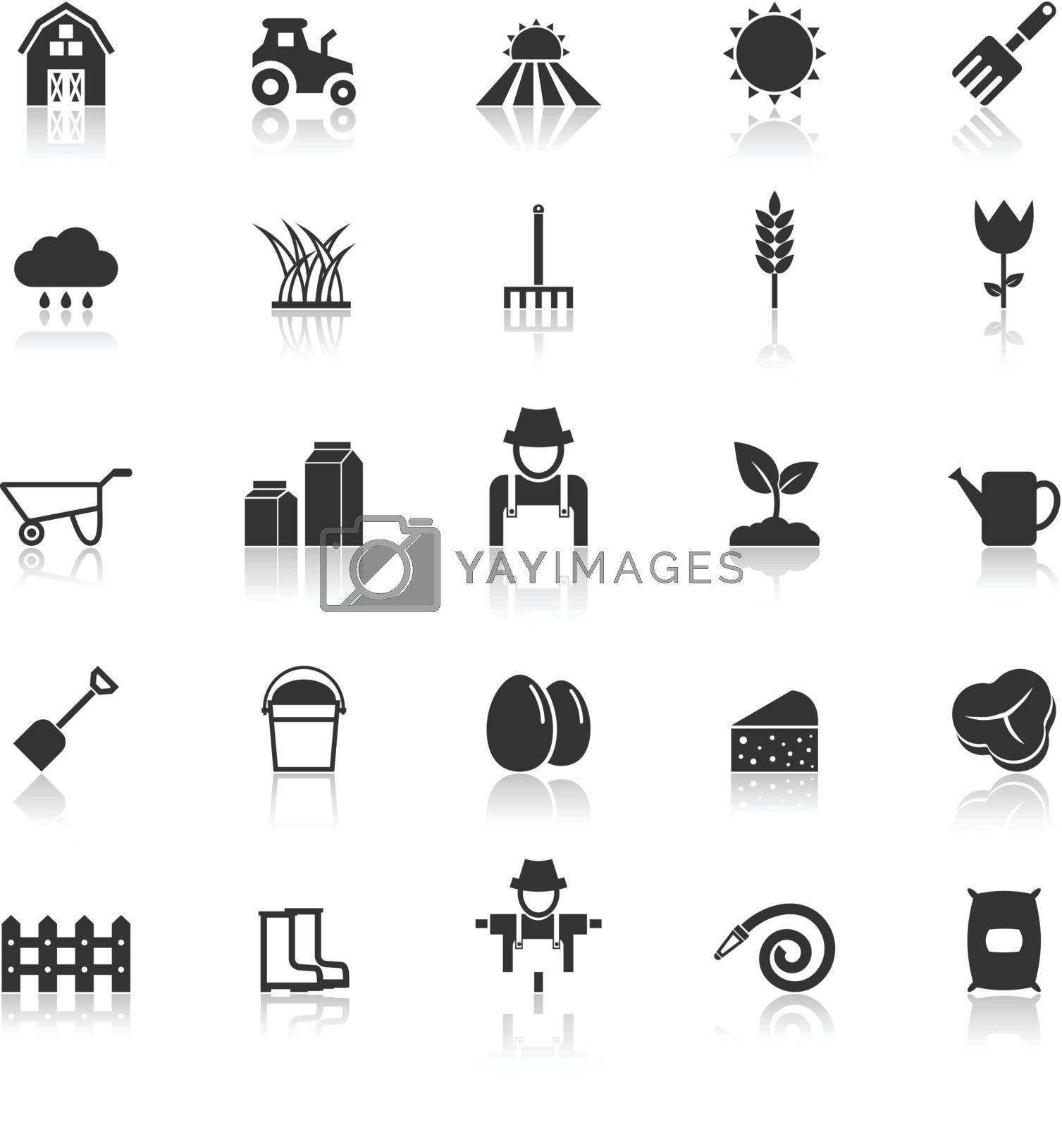 Farming icons with reflect on white background, stock vector