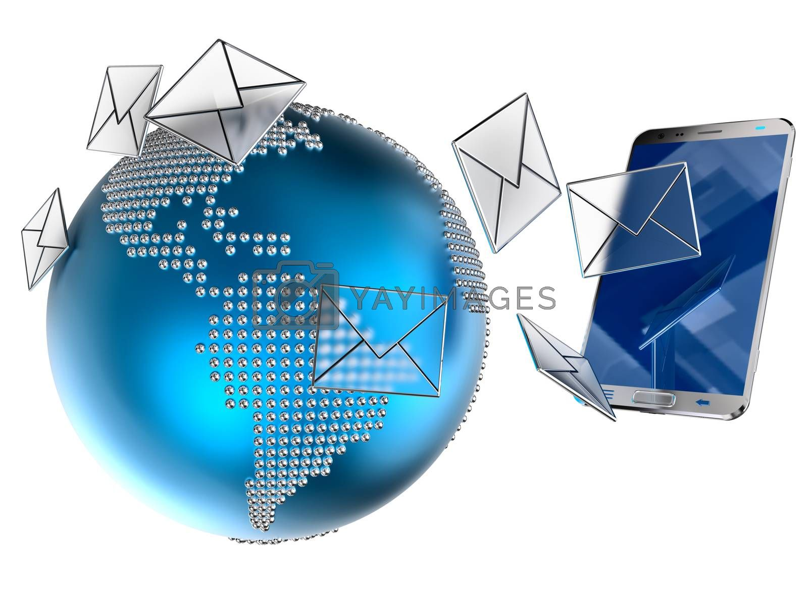 A lot of envelopes, as e-mail or sms, sent to the mobile phone on white background. 3d illustration concept background.
