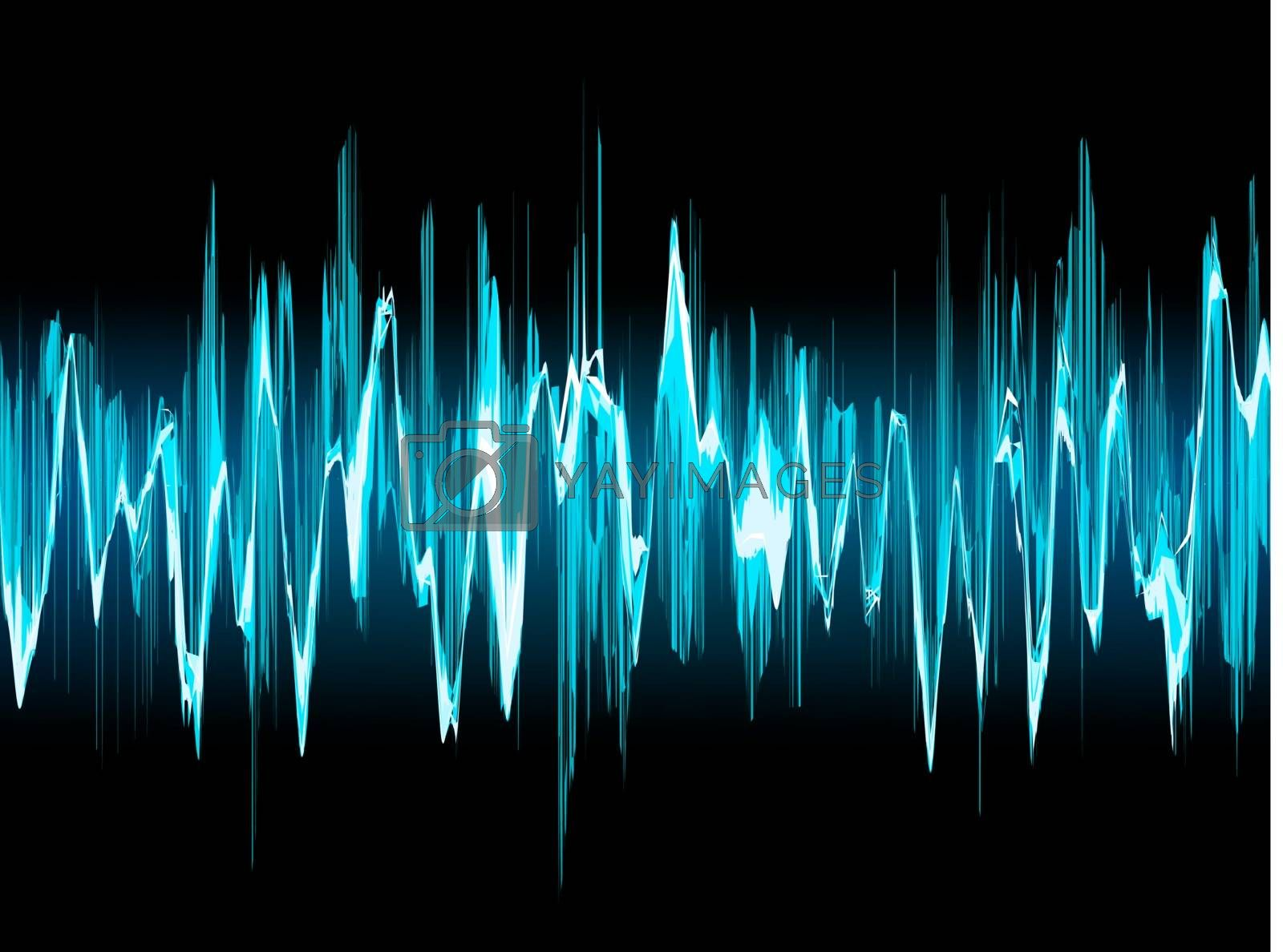 Bright sound wave on a dark blue background. EPS 10 vector file included