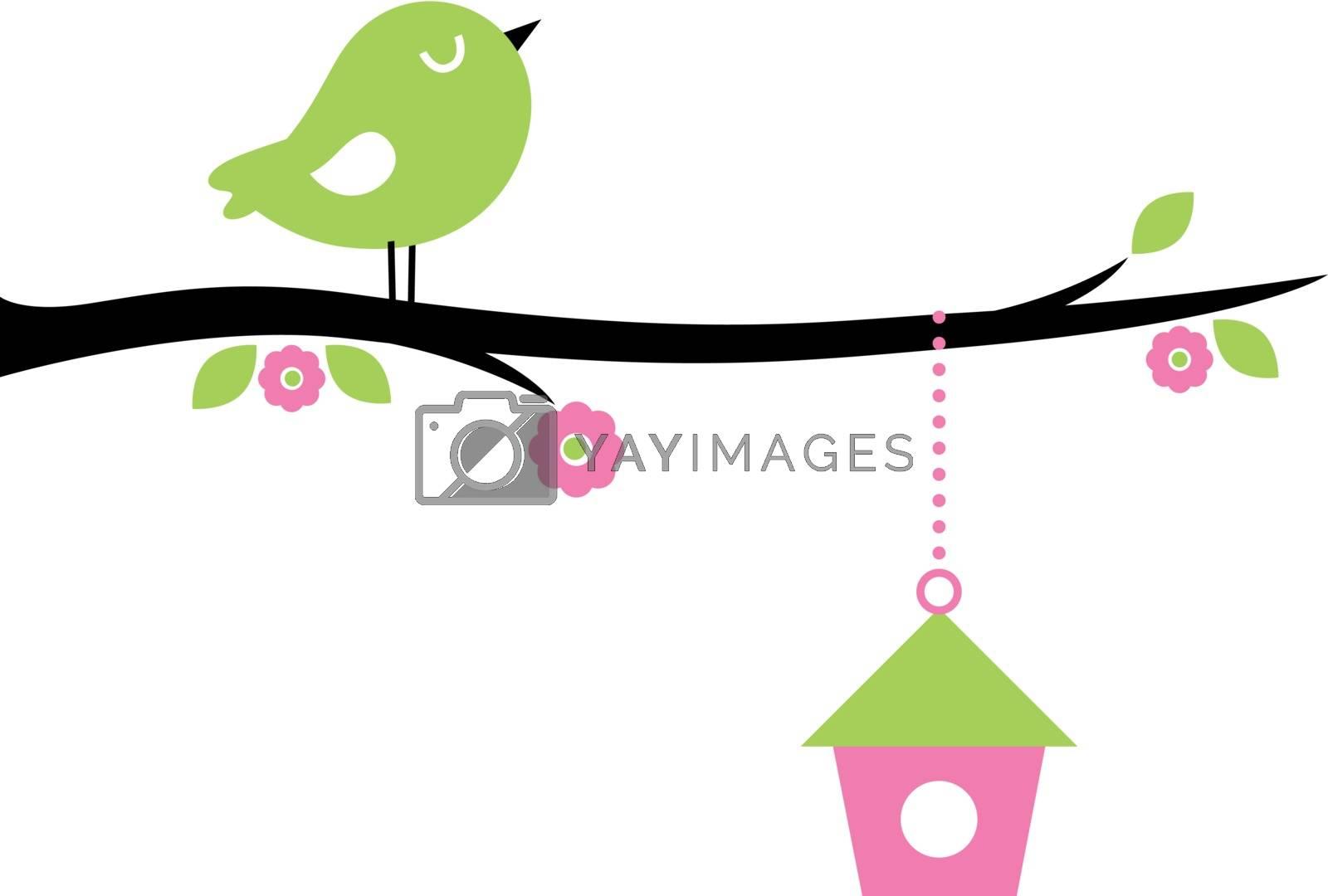 Beautiful cute Spring bird. Vector cartoon Illustration