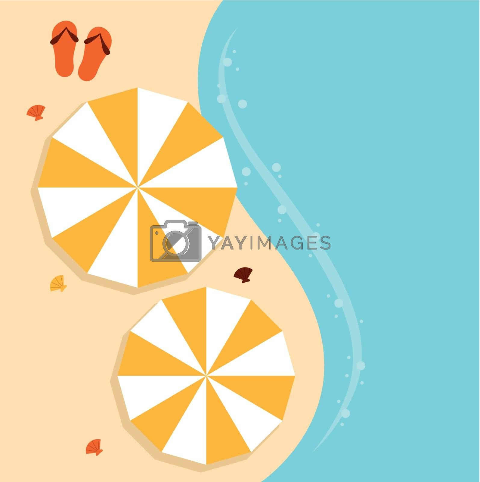Summer beach background with sea and sand. Vector Illustration