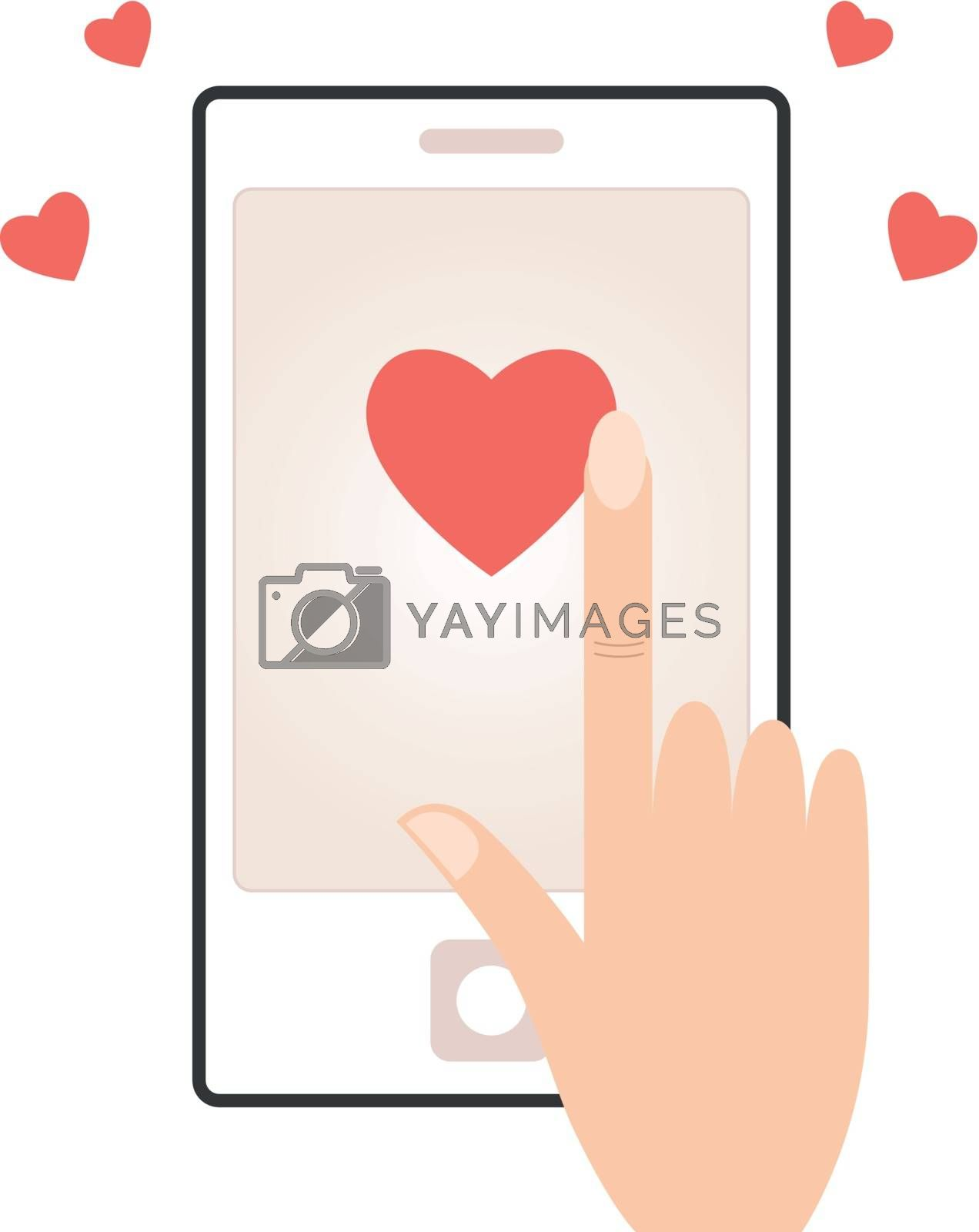 Smart phone with love message for valentines day. Vector