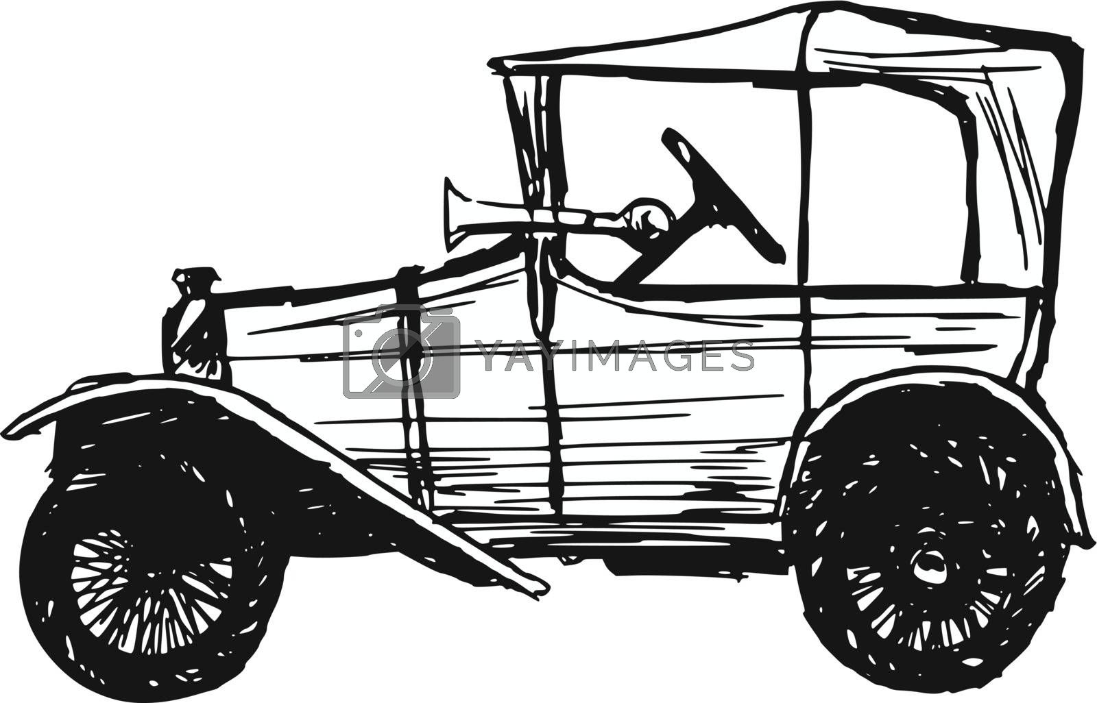 hand drawn, sketch, cartoon illustration of retro car
