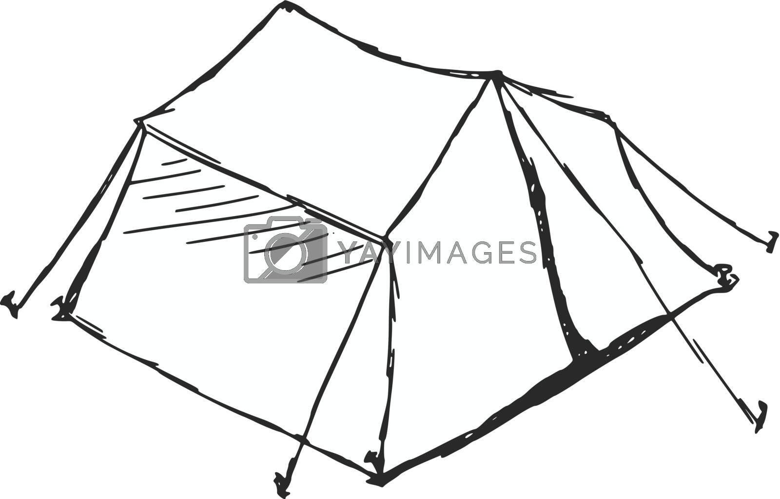 hand drawn, sketch, cartoon illustration of tent