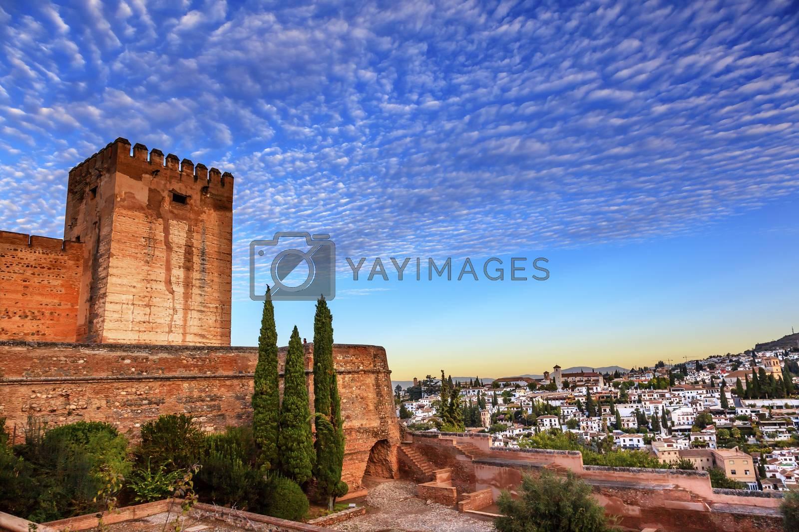 Alhambra Castle Morning Sky ityscape Walls Granada Churches Andalusia Spain