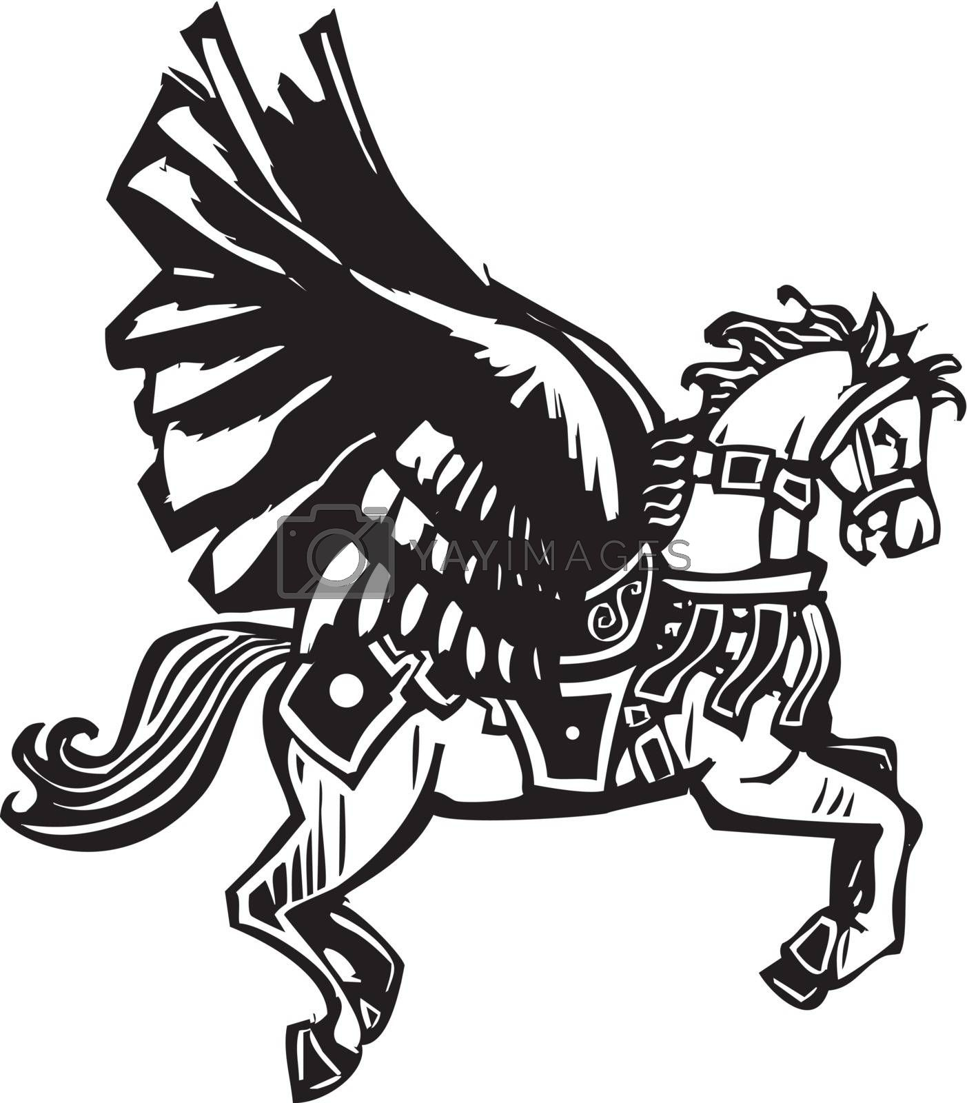 Woodcut style image of a mythical Pegasus in full bridal gear.