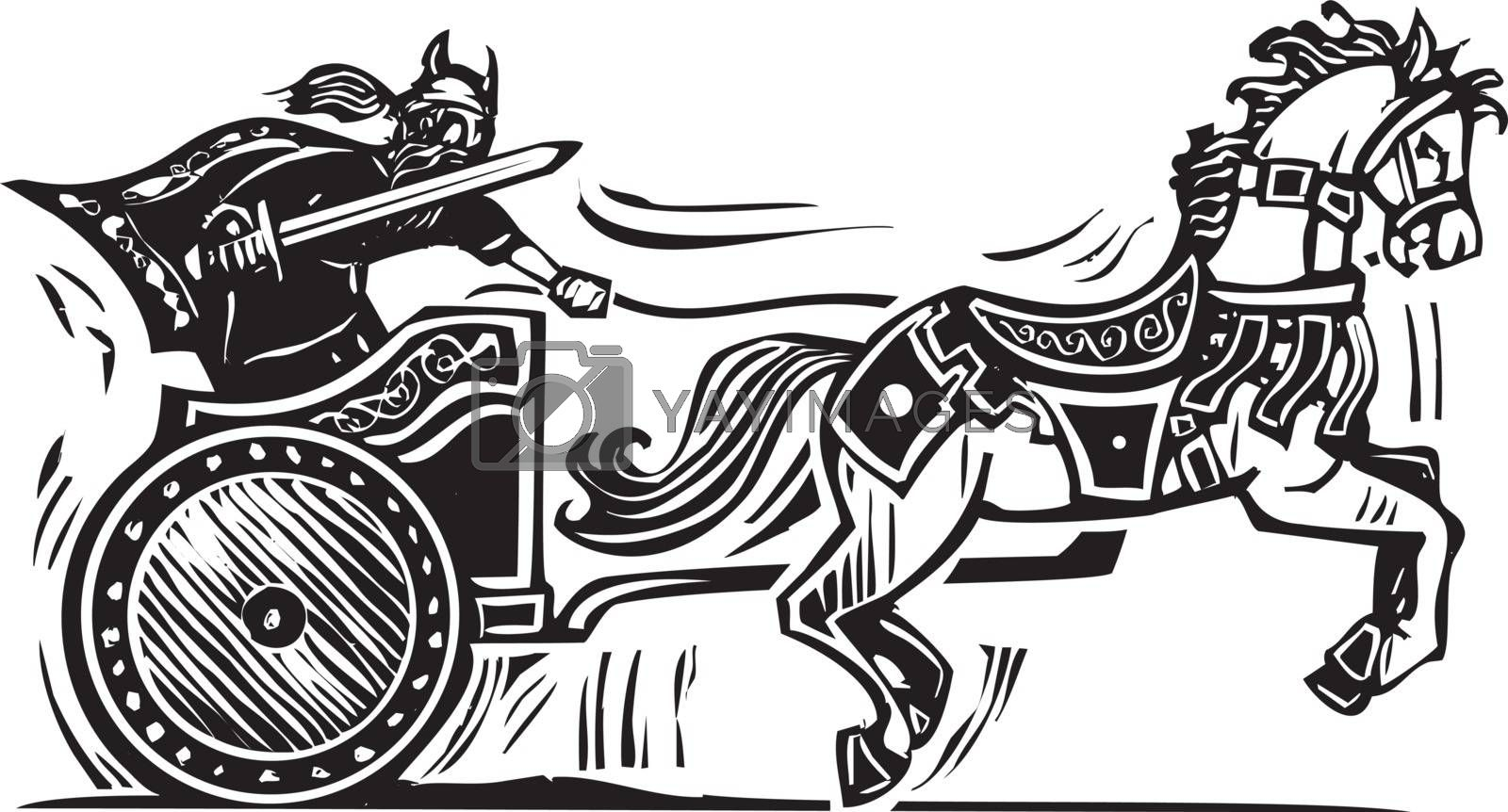 Woodcut style image of a Viking riding a chariot.