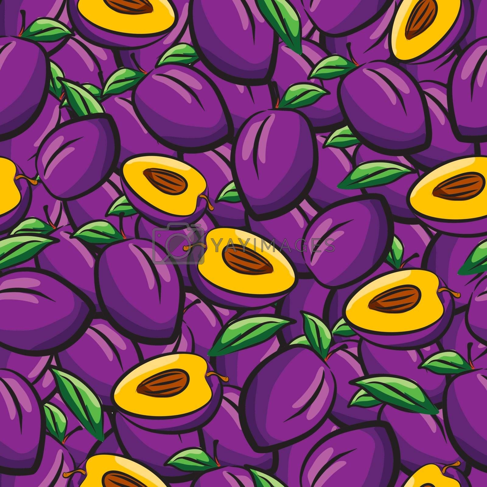 Plum fruits sketch drawing seamless background