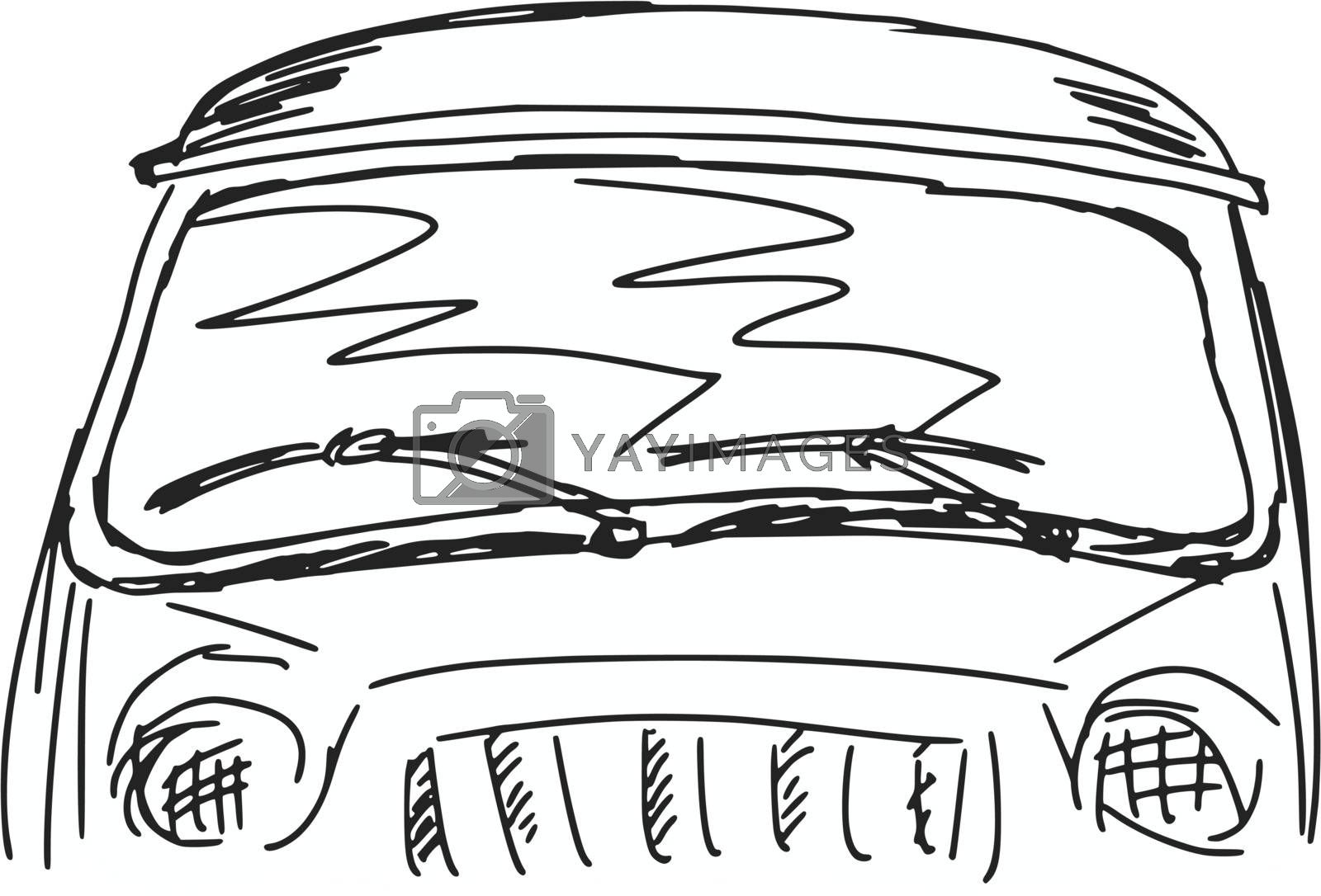 hand drawn, sketch, cartoon illustration of windscreen