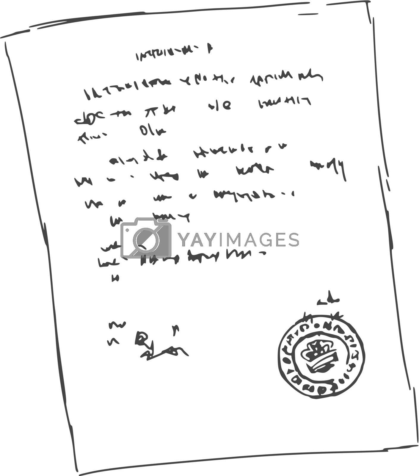hand drawn, sketch, cartoon illustration of sheet of document