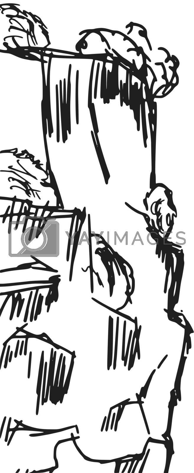 hand drawn, sketch, cartoon illustration of cliff