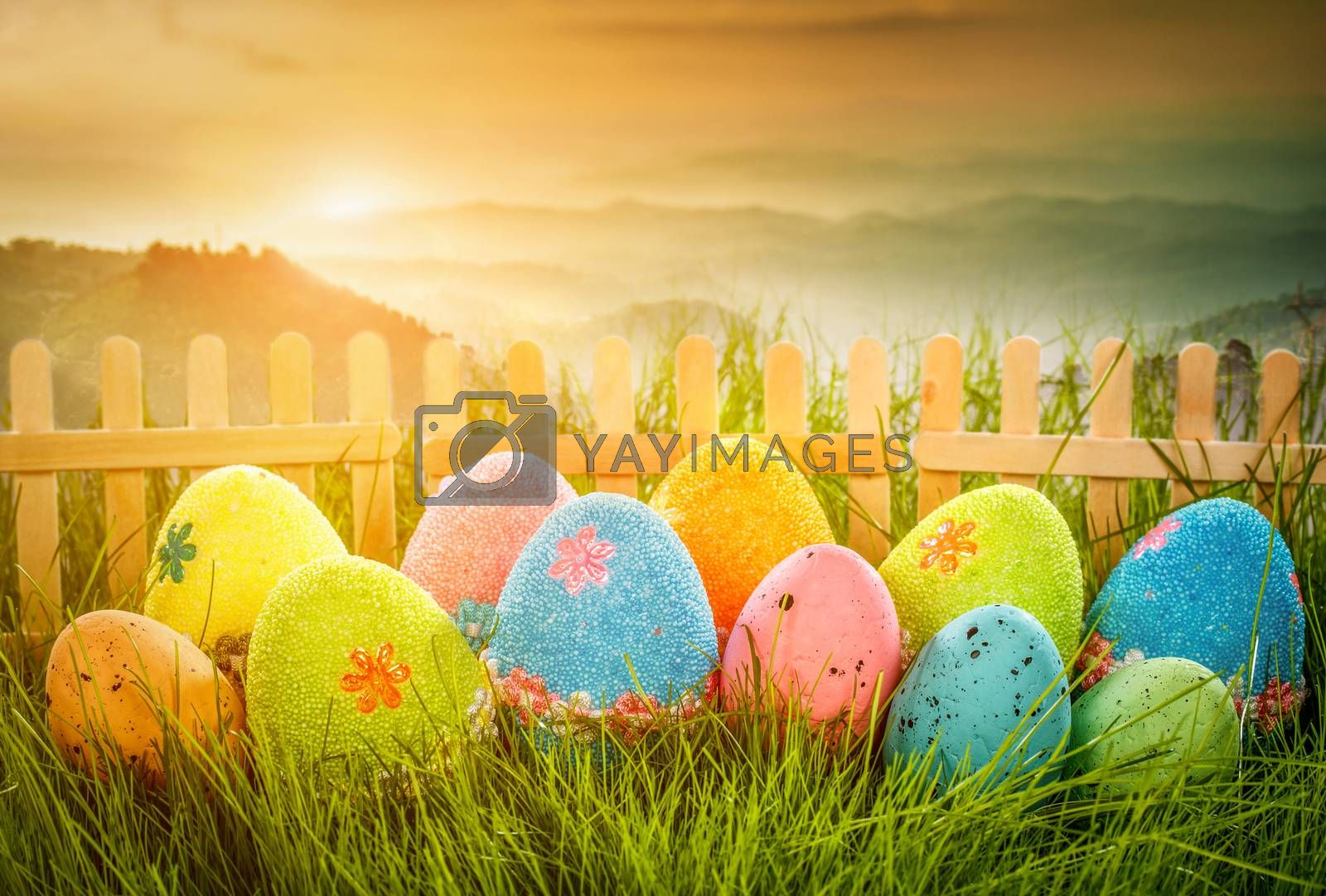 Decorated easter eggs in the grass on the background of sky