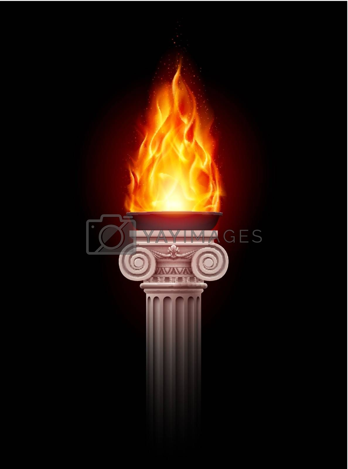 Royalty free image of Column with fire by dvarg