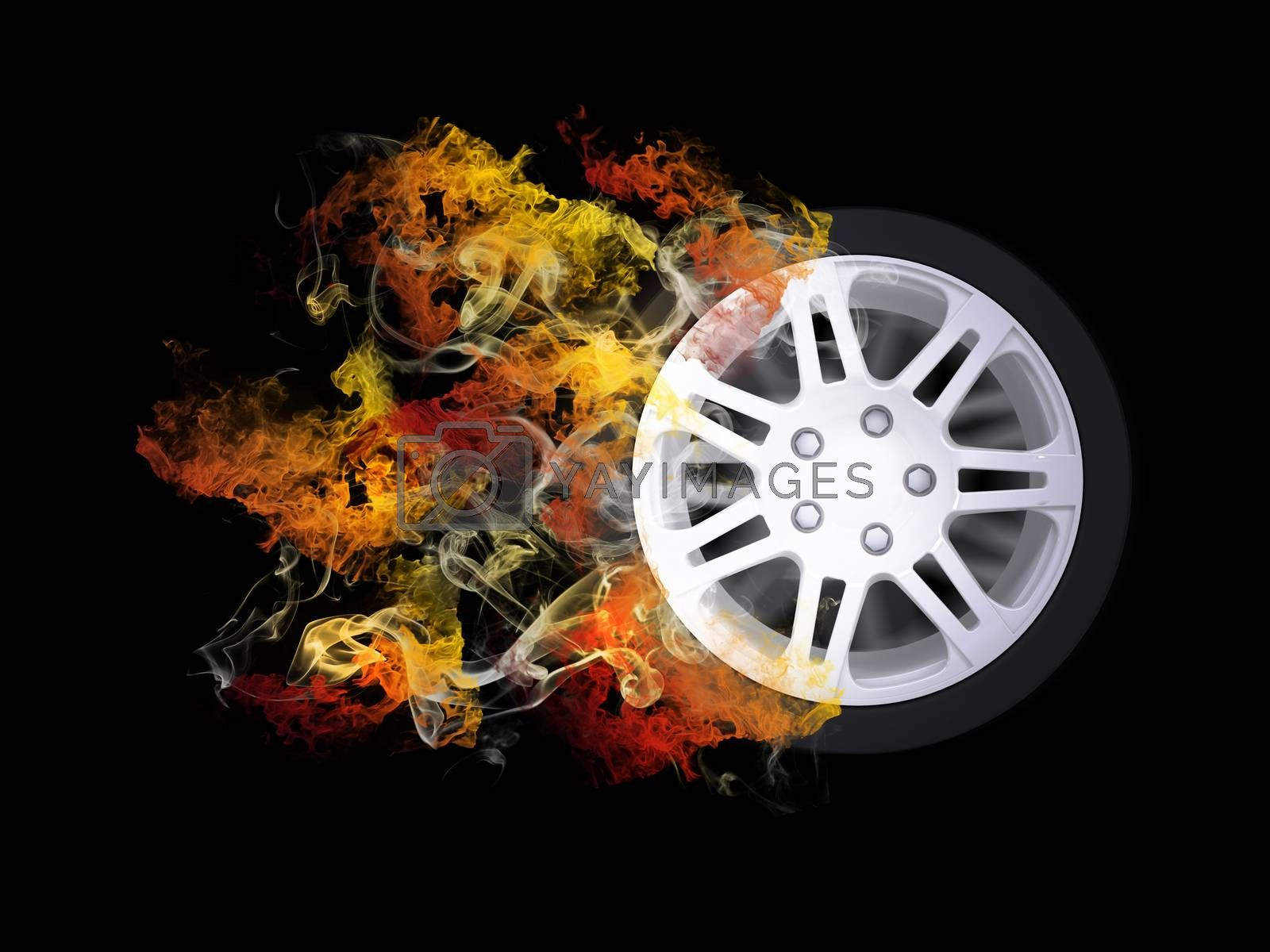 Royalty free image of Car wheel in the colored smoke by cherezoff