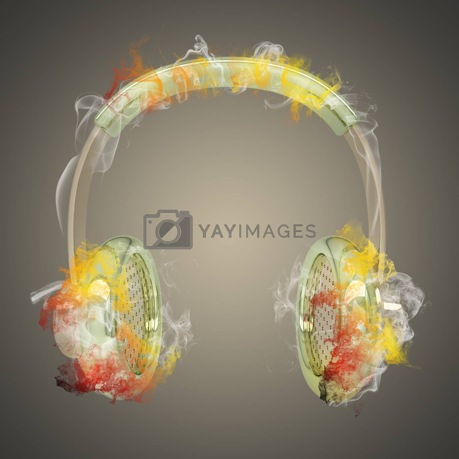 Royalty free image of Headphones in the colored smoke by cherezoff