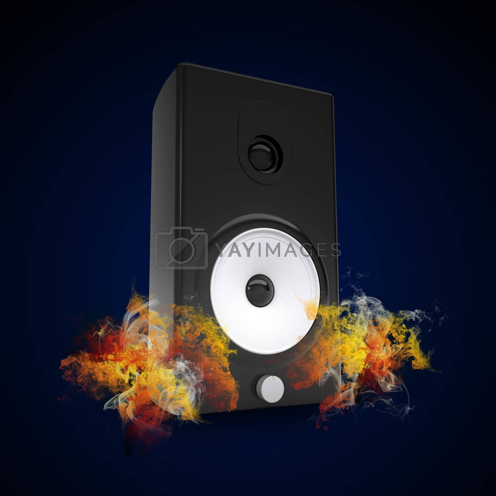 Royalty free image of Audio speaker in the colored smoke by cherezoff