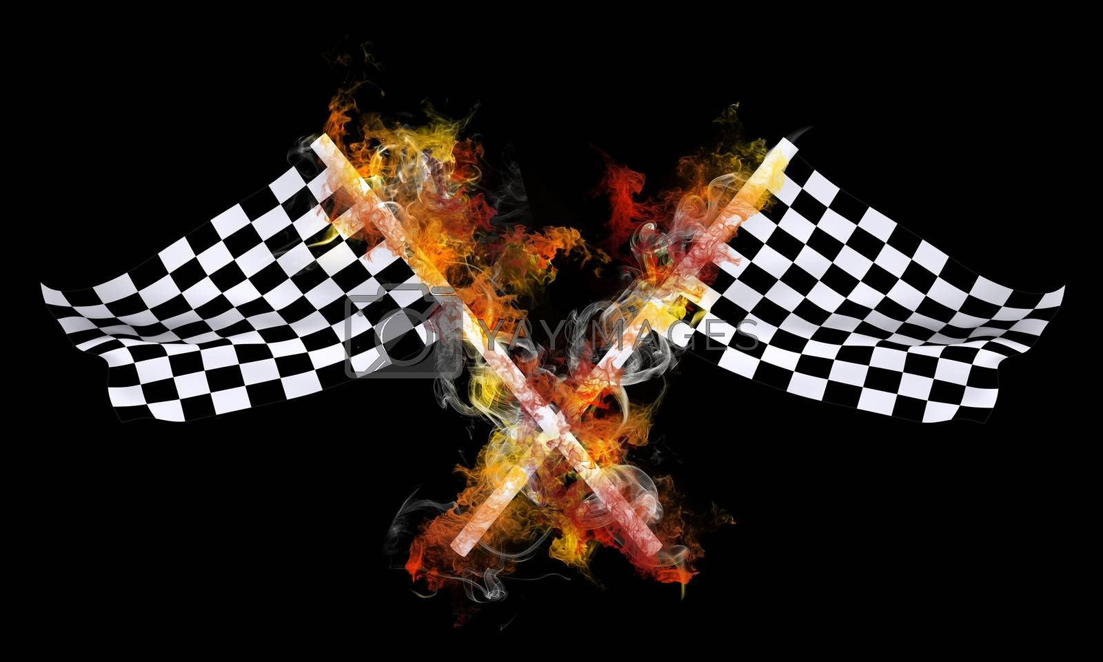 Royalty free image of Two sports flag in a colorful smoke by cherezoff