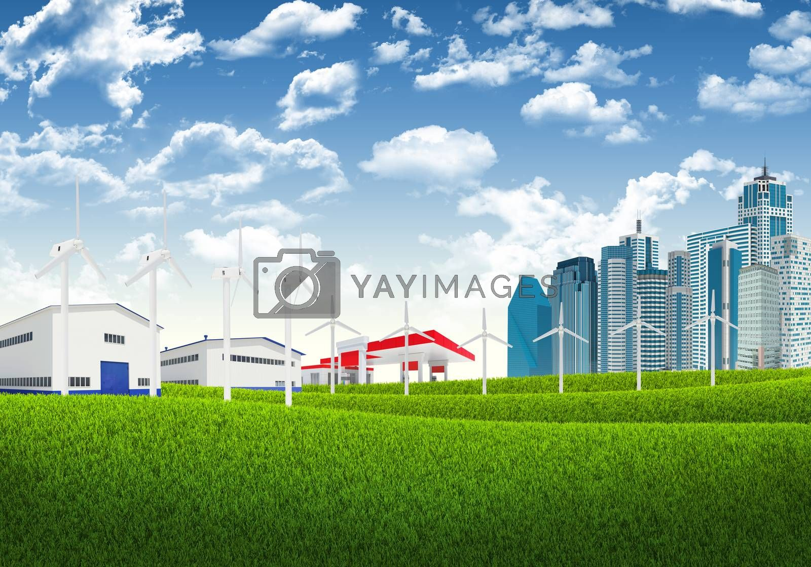 Royalty free image of Blue sky, green grass and city by cherezoff