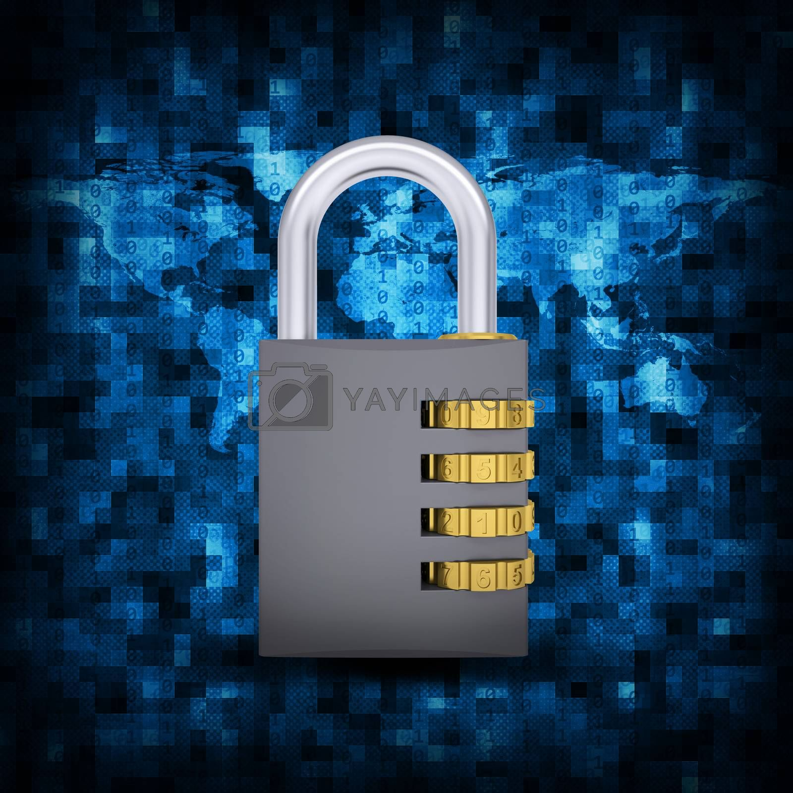 Royalty free image of Binary code and combination lock by cherezoff
