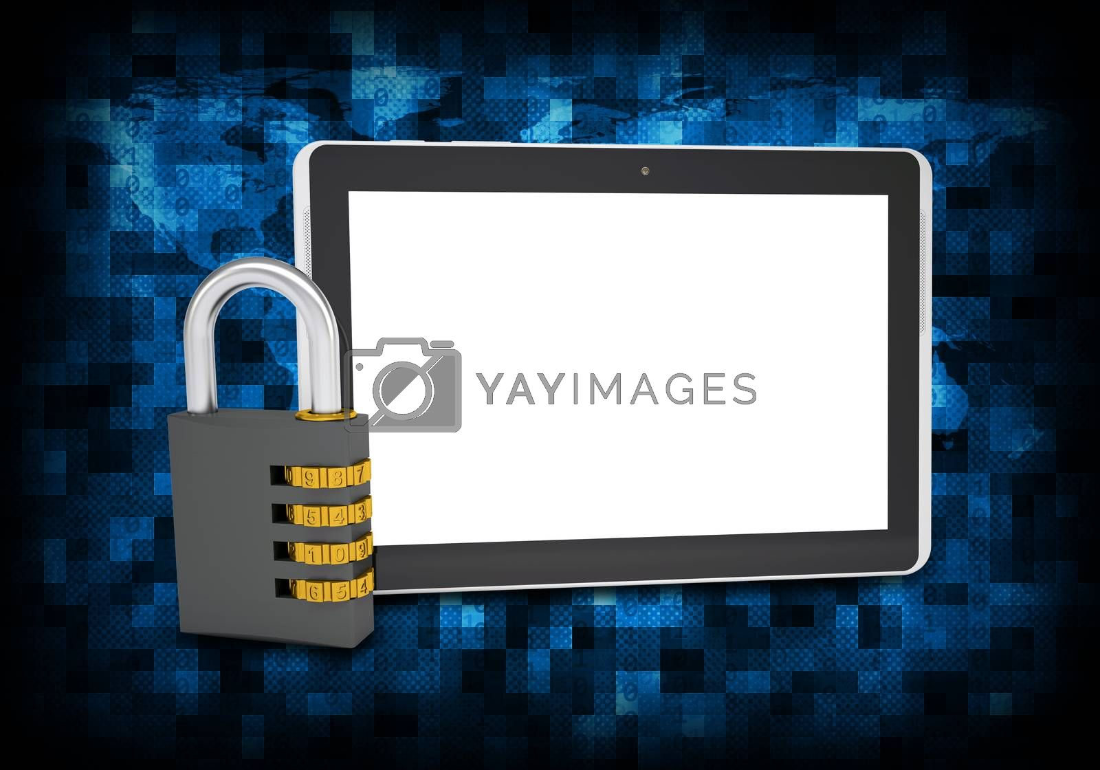 Royalty free image of Binary code and tablet pc with combination lock by cherezoff