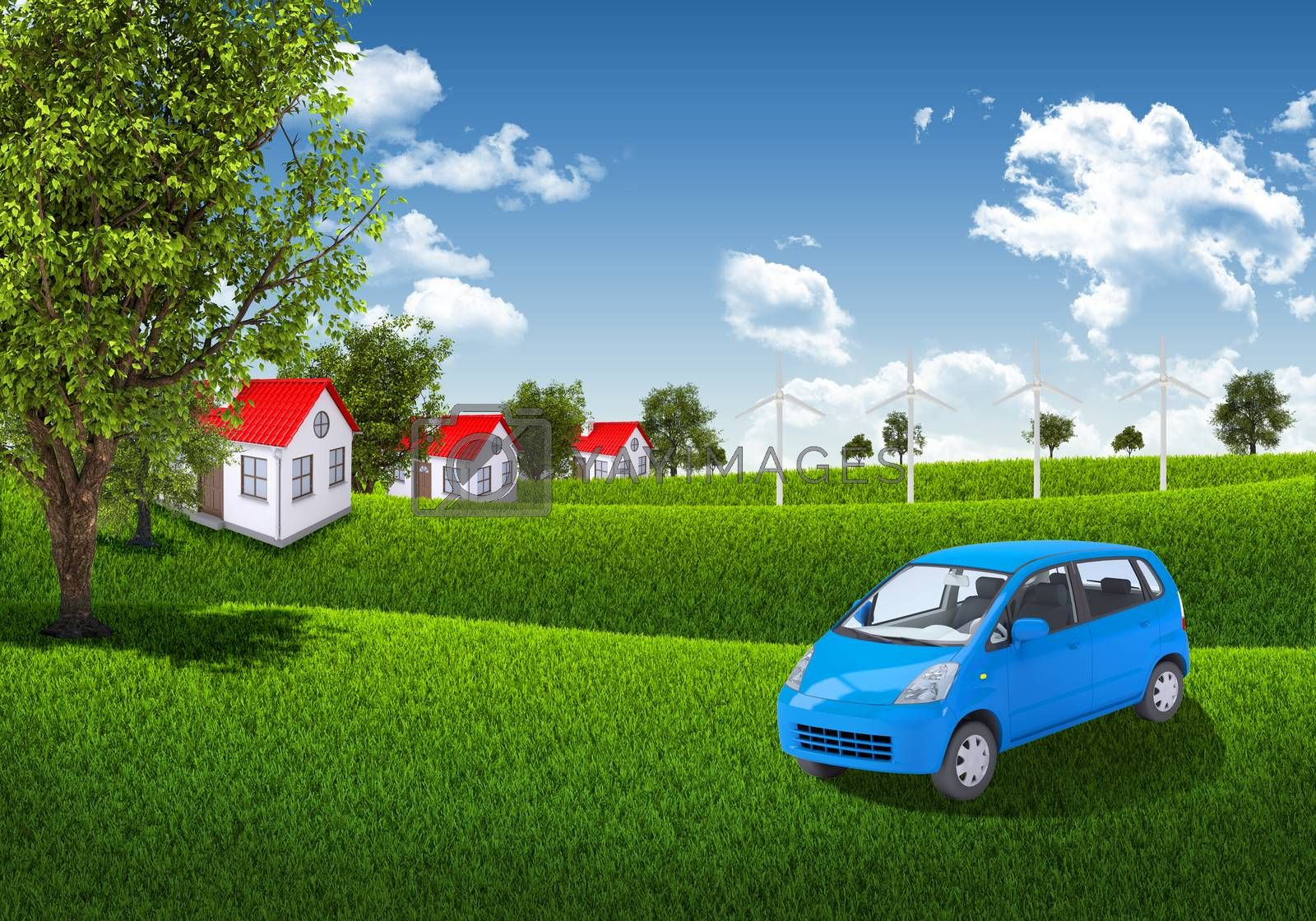 Royalty free image of Blue sky, green grass and houses by cherezoff